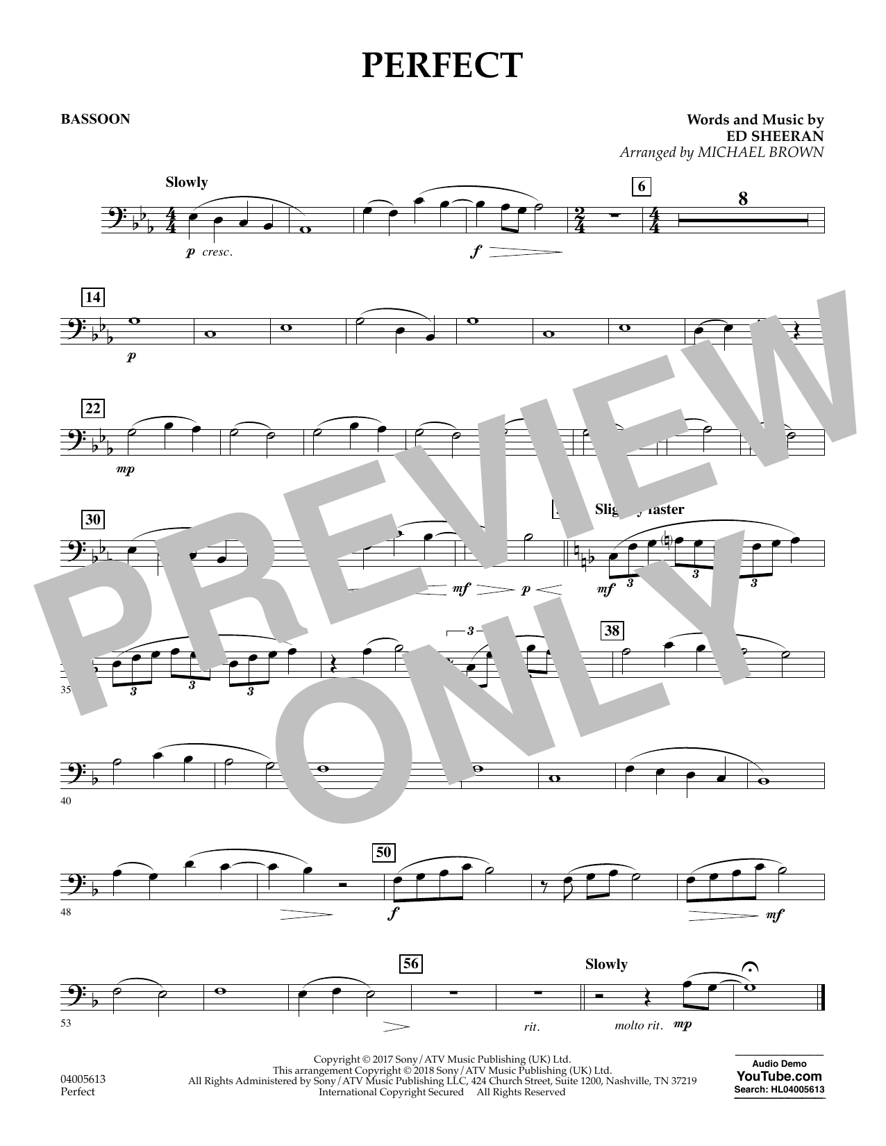 Perfect (arr. Michael Brown) - Bassoon (Concert Band)