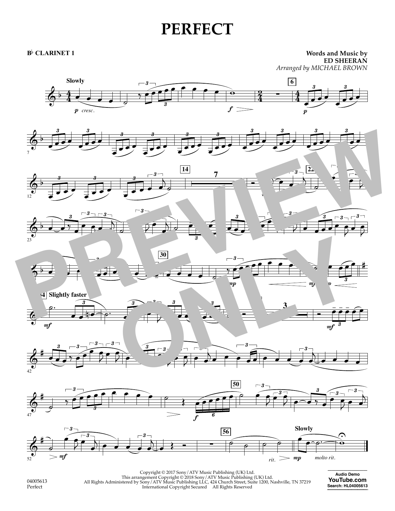 Perfect (arr. Michael Brown) - Bb Clarinet 1 (Concert Band)