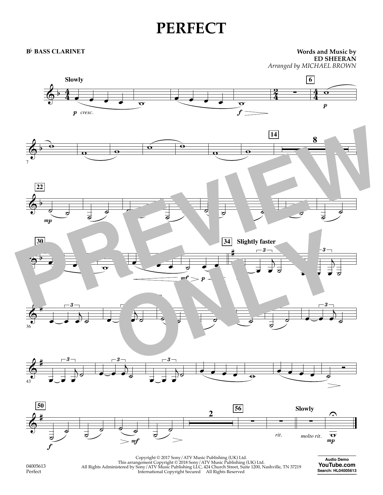 Perfect (arr. Michael Brown) - Bb Bass Clarinet (Concert Band)