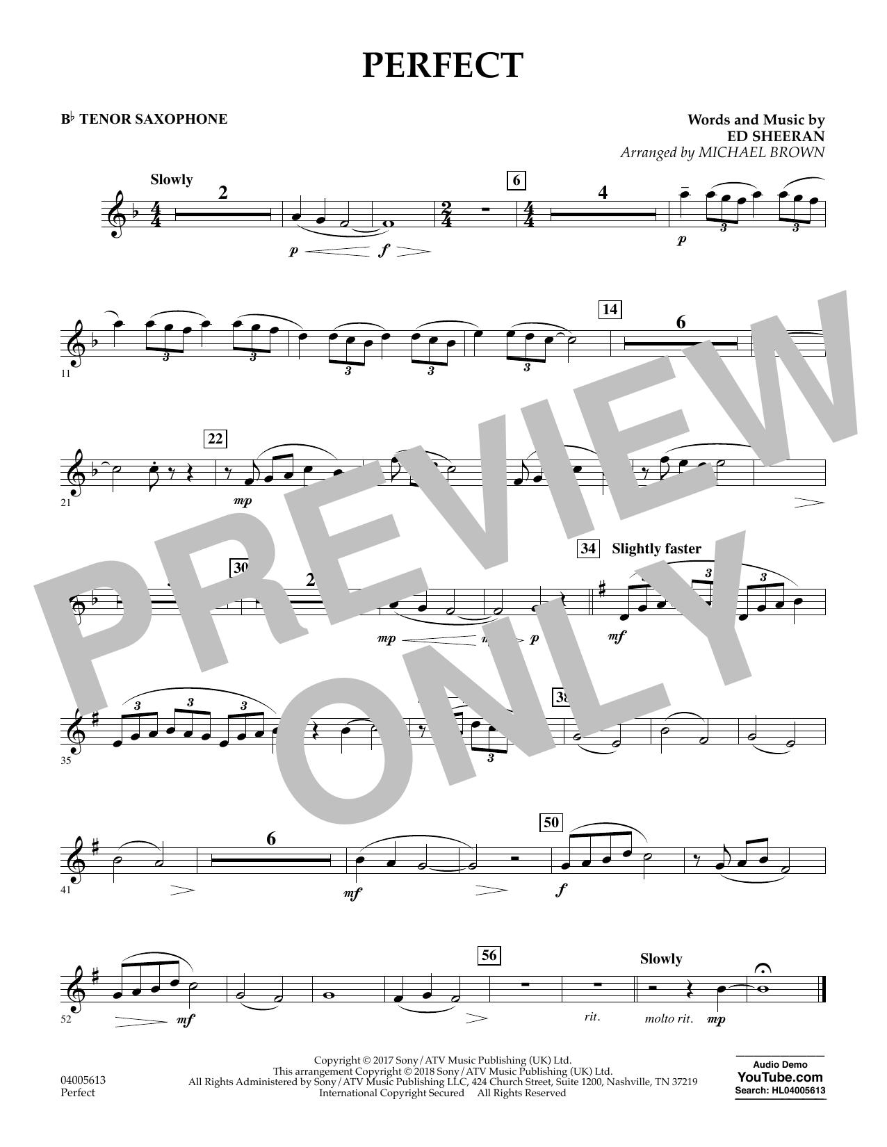 Perfect (arr. Michael Brown) - Bb Tenor Saxophone (Concert Band)