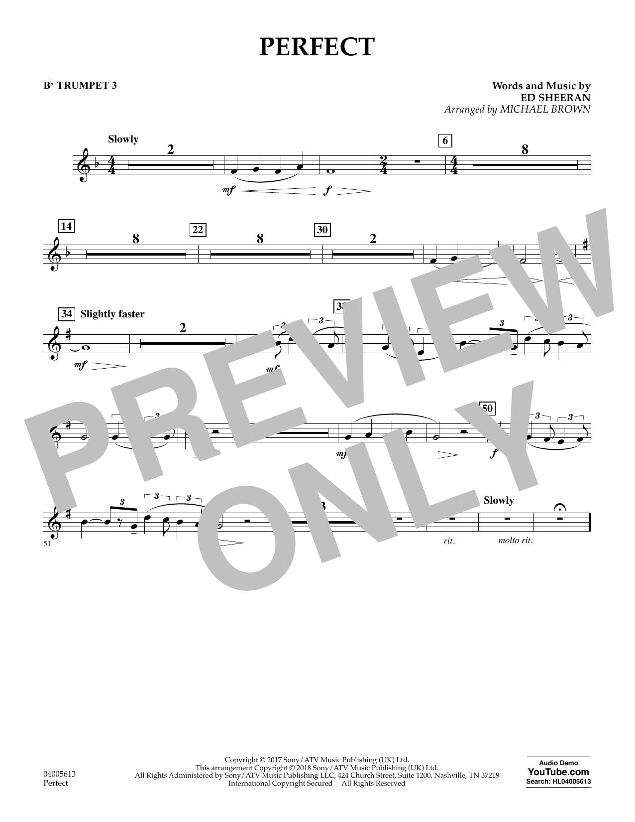 Perfect (arr. Michael Brown) - Bb Trumpet 3 (Concert Band)