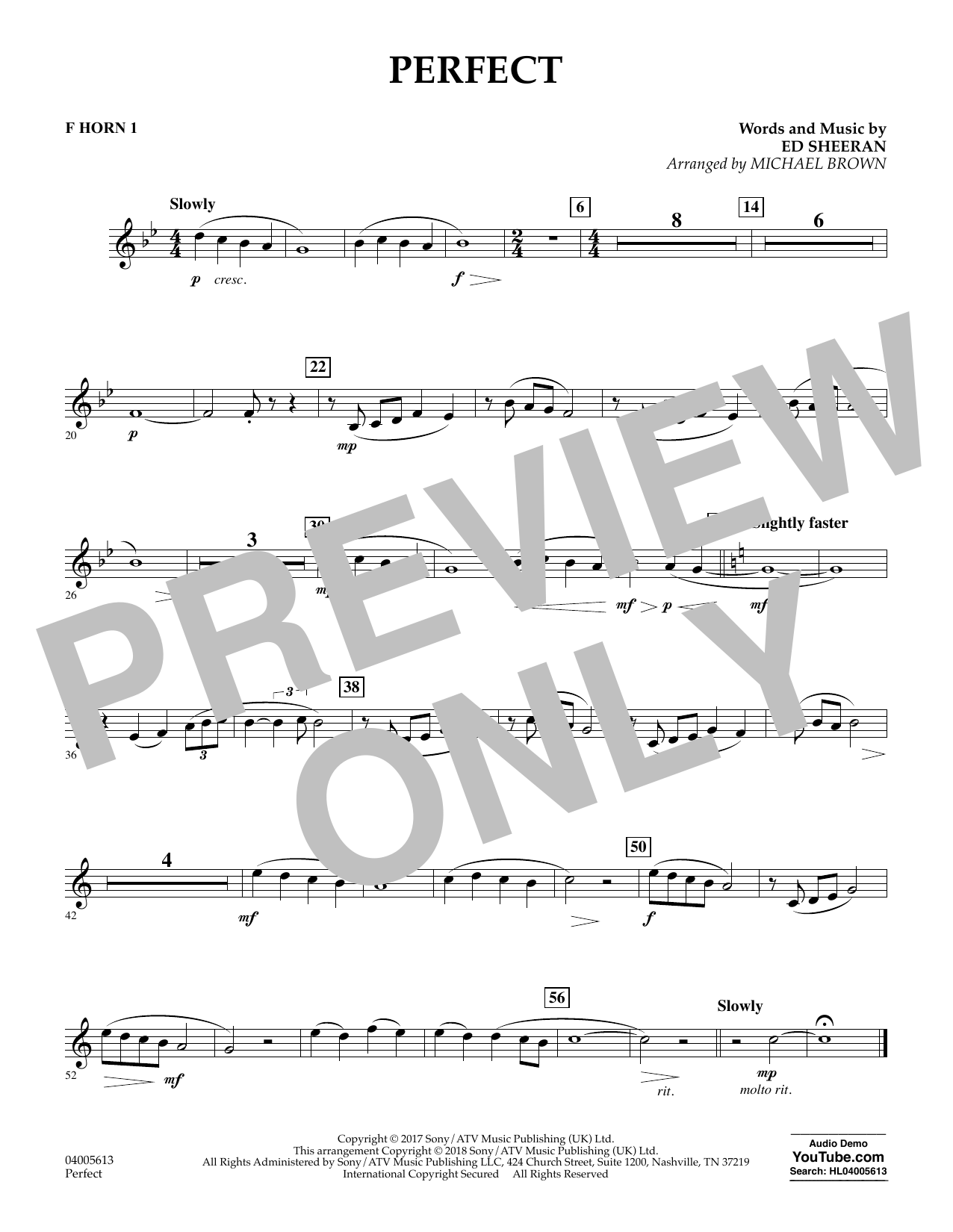Perfect (arr. Michael Brown) - F Horn 1 (Concert Band)