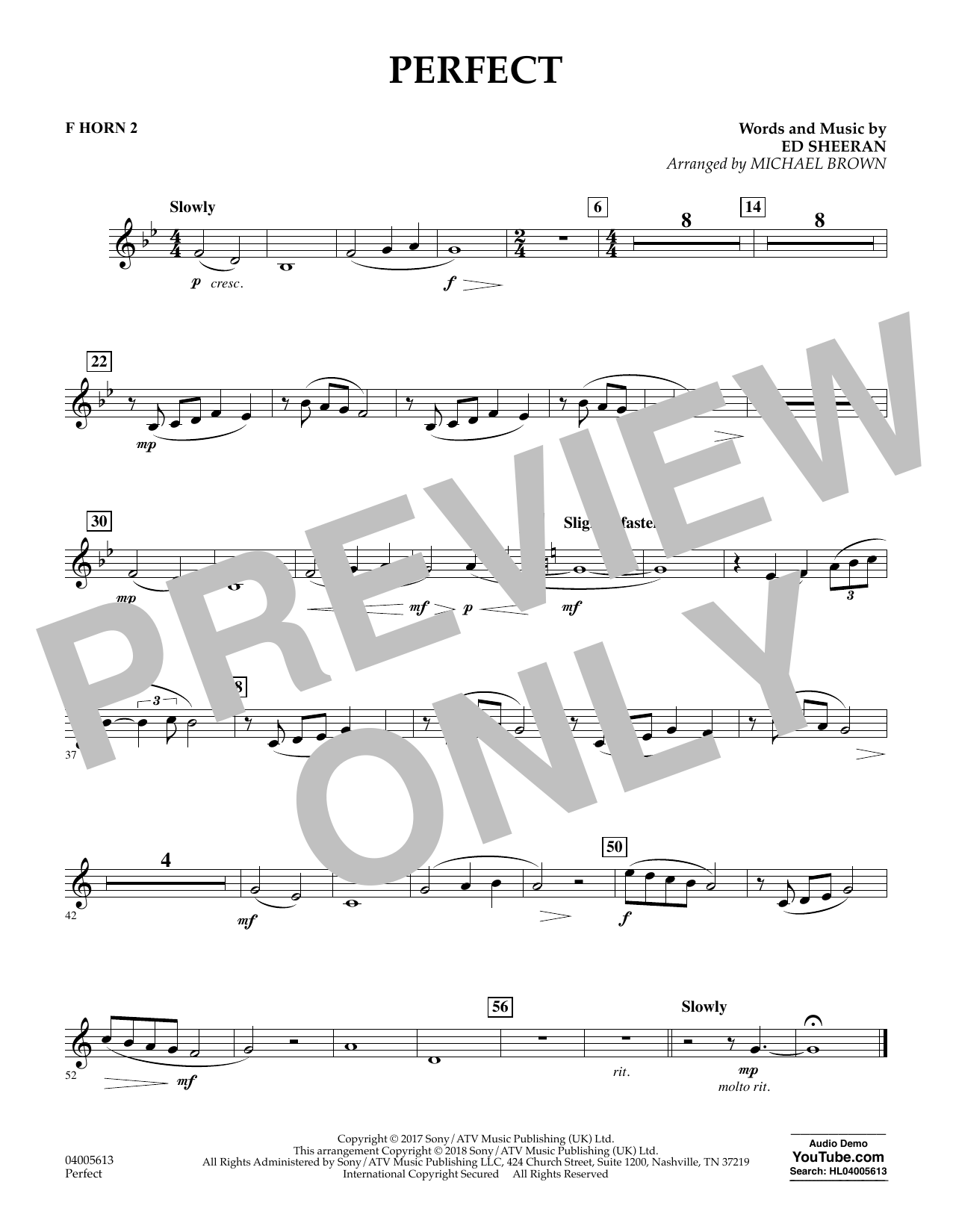 Perfect (arr. Michael Brown) - F Horn 2 (Concert Band)