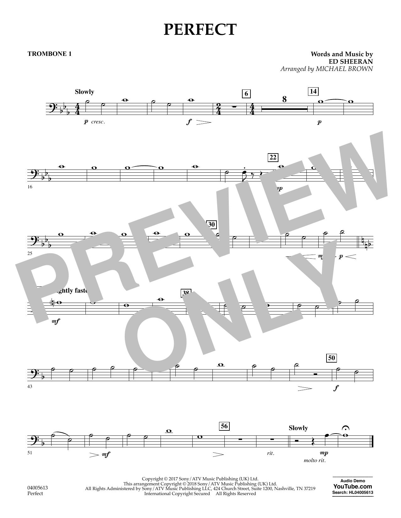 Perfect (arr. Michael Brown) - Trombone 1 (Concert Band)