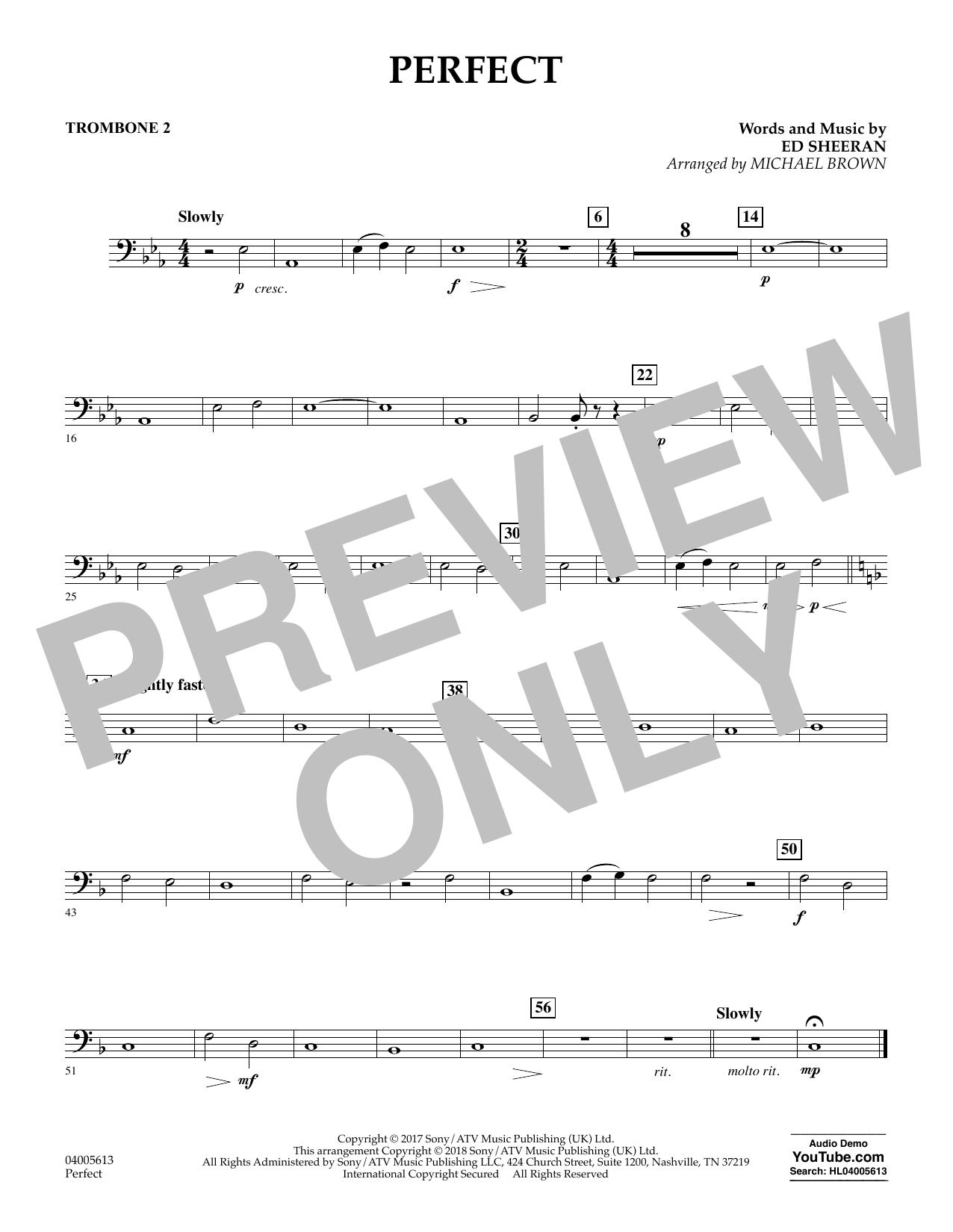 Perfect (arr. Michael Brown) - Trombone 2 (Concert Band)