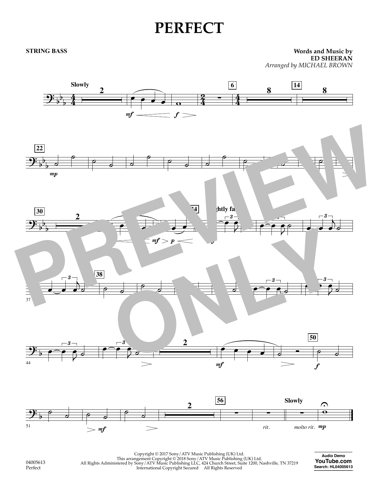 Perfect (arr. Michael Brown) - String Bass (Concert Band)