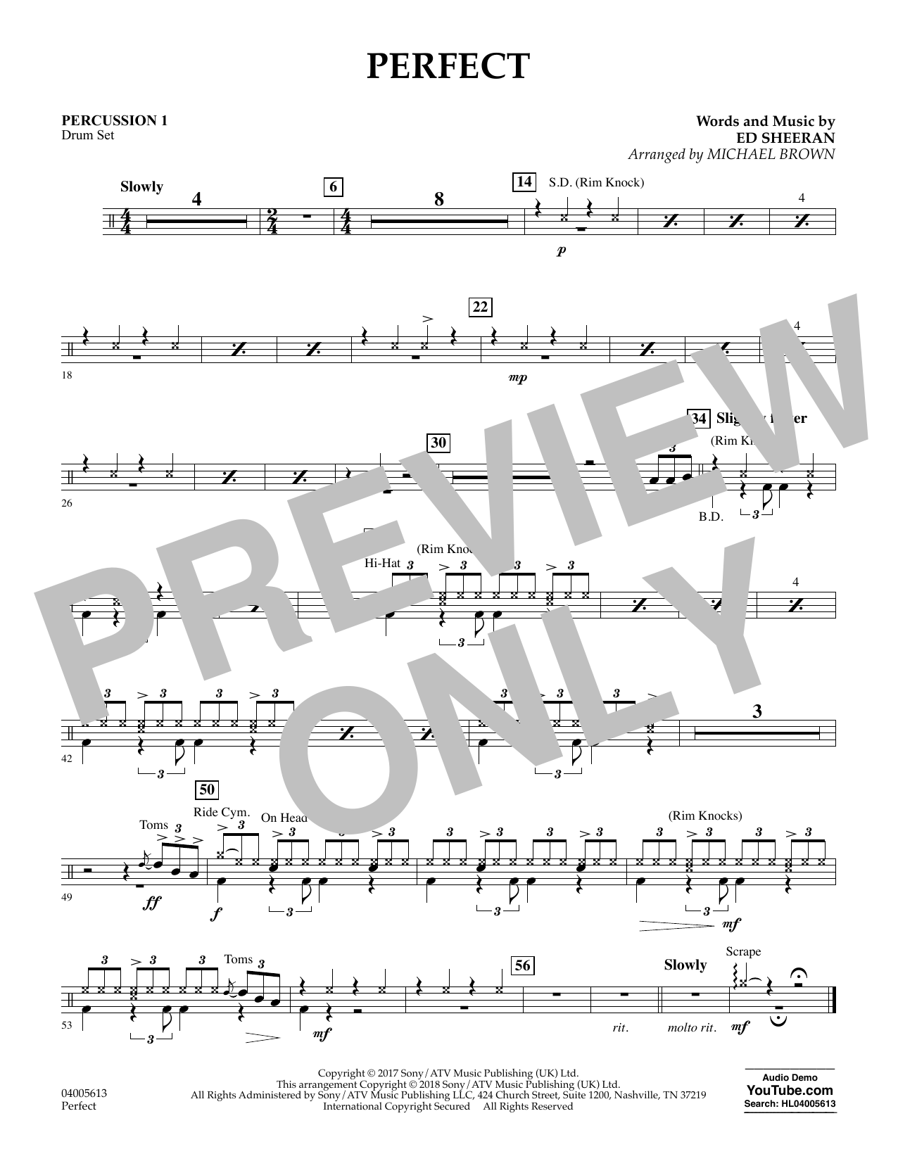 Perfect (arr. Michael Brown) - Percussion 1 (Concert Band)