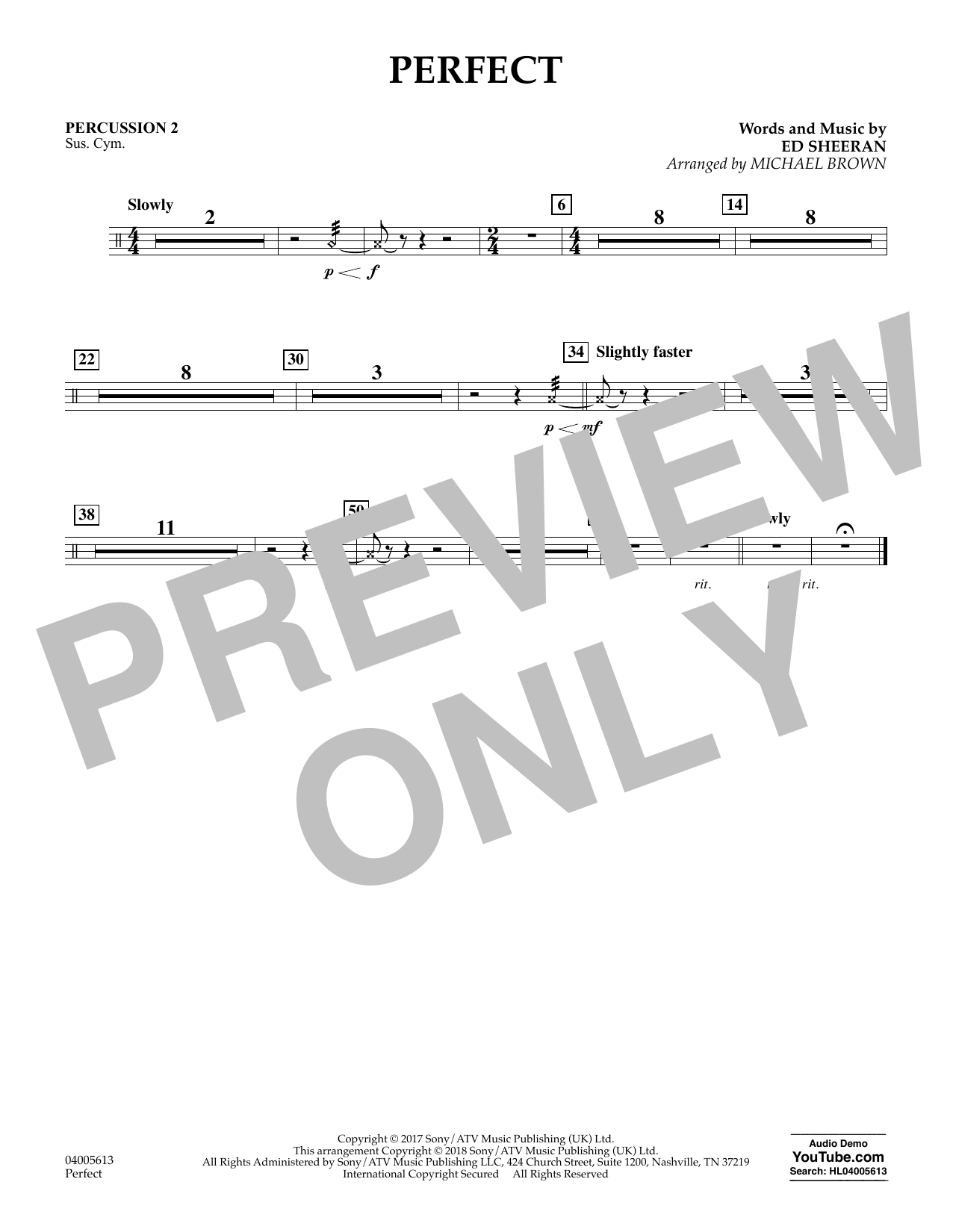 Perfect (arr. Michael Brown) - Percussion 2 (Concert Band)
