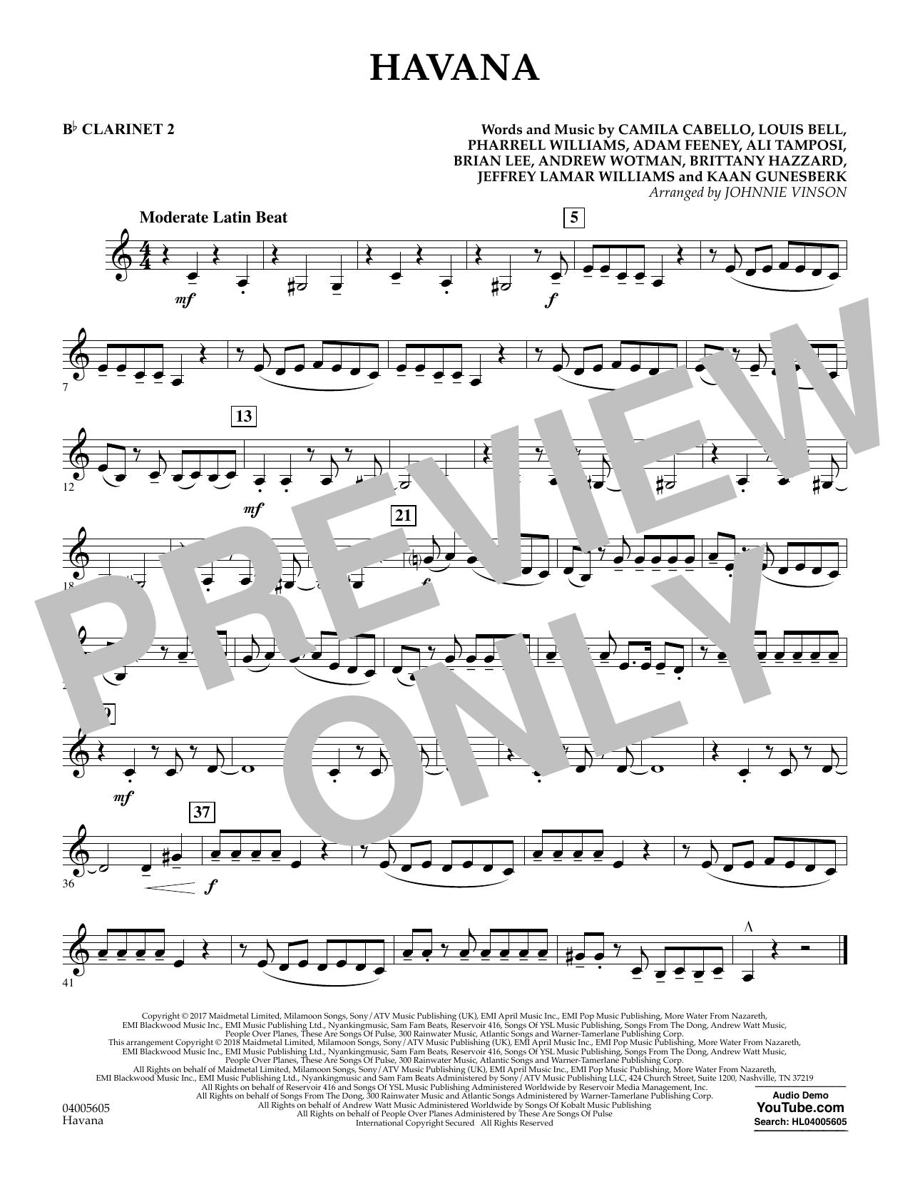 Havana - Bb Clarinet 2 (Concert Band)