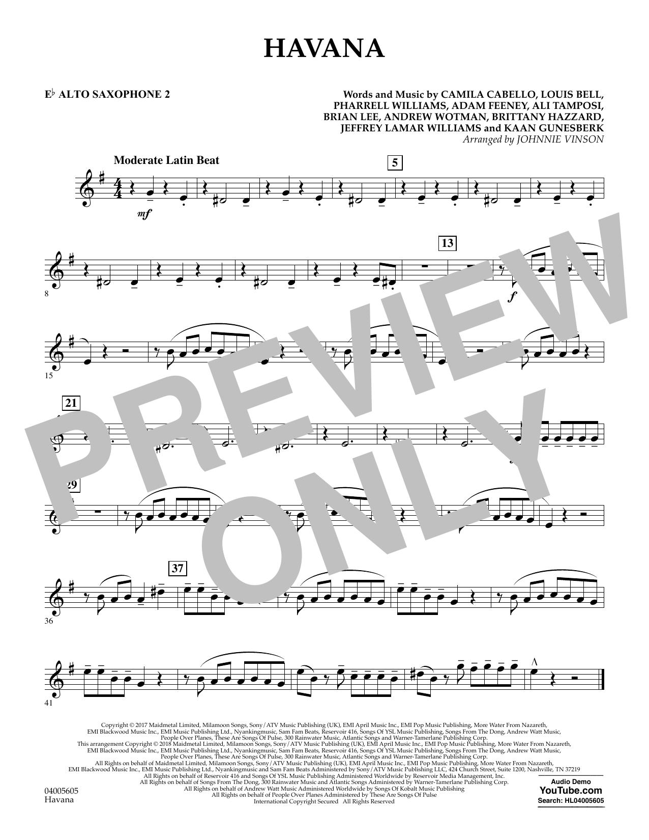 Havana - Eb Alto Saxophone 2 (Concert Band)