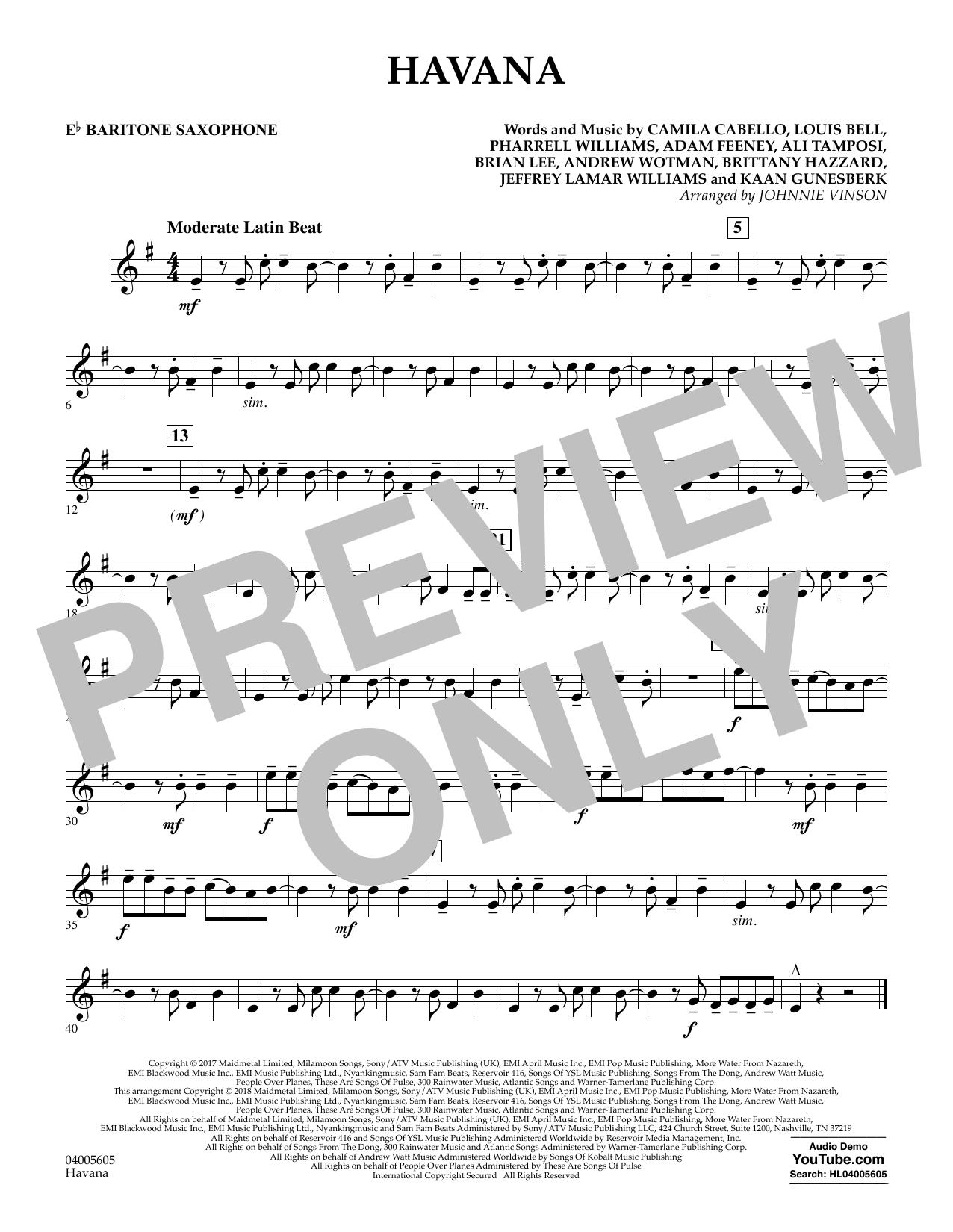 Havana - Eb Baritone Saxophone (Concert Band)