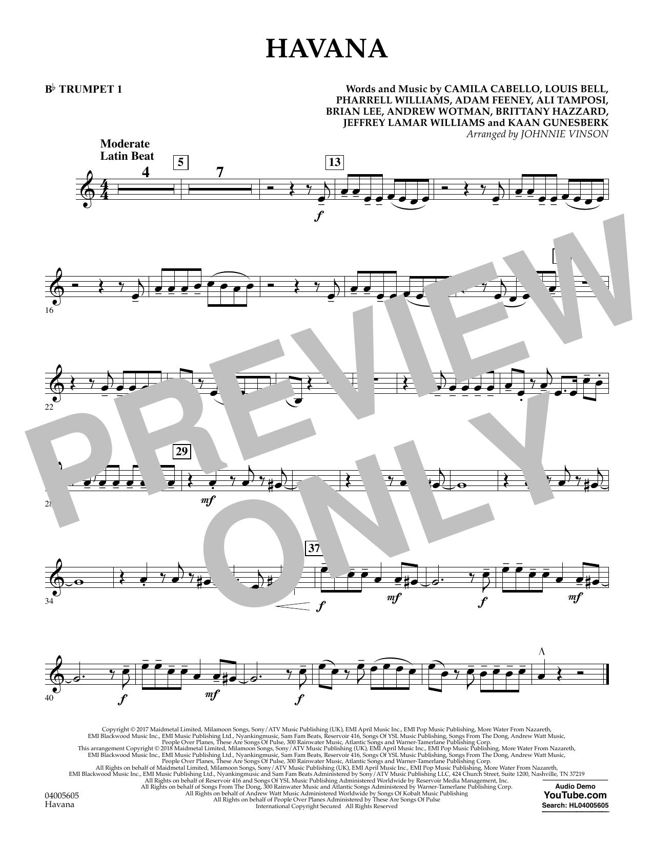 Havana - Bb Trumpet 1 (Concert Band)