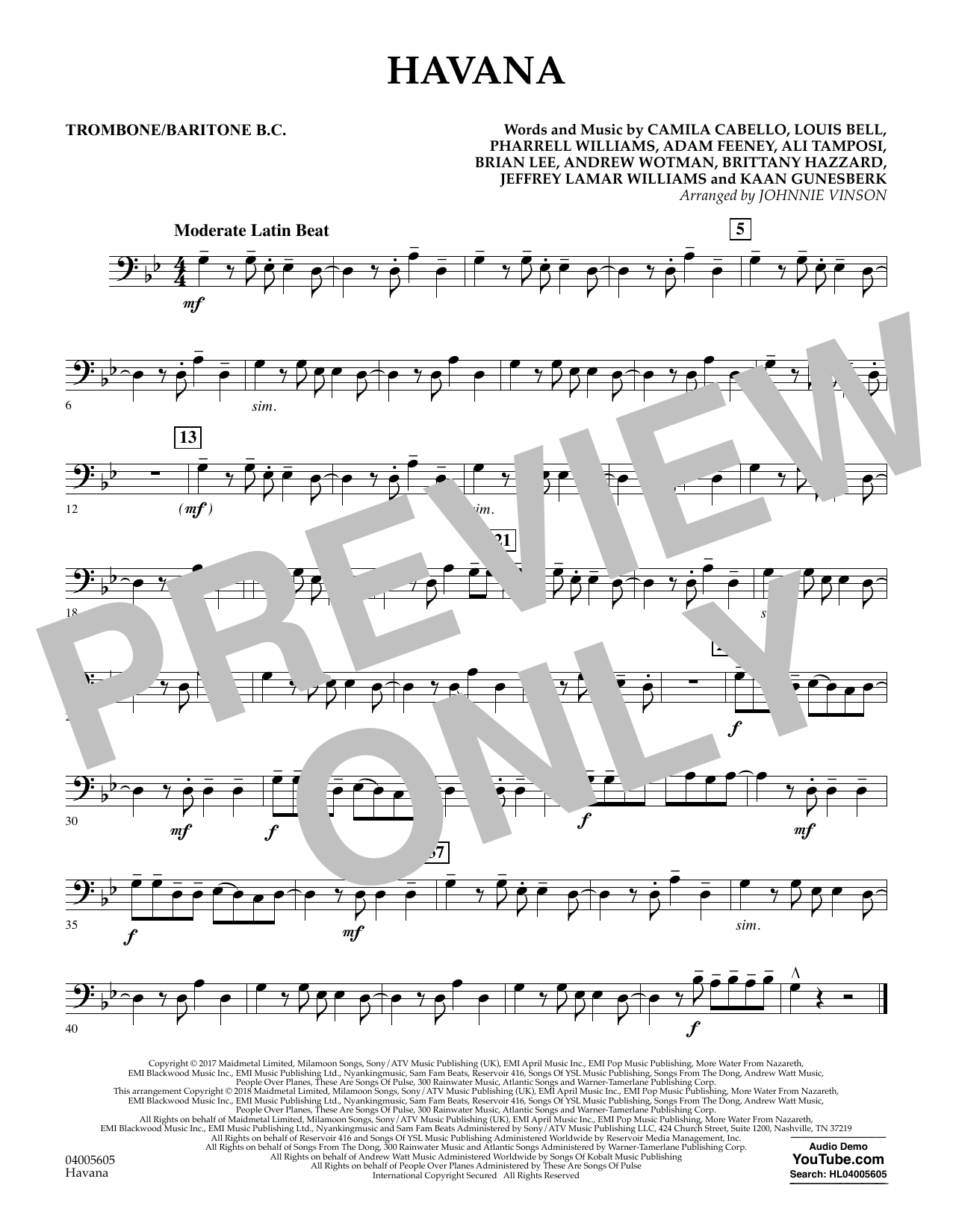 Havana - Trombone/Baritone B.C. (Concert Band)