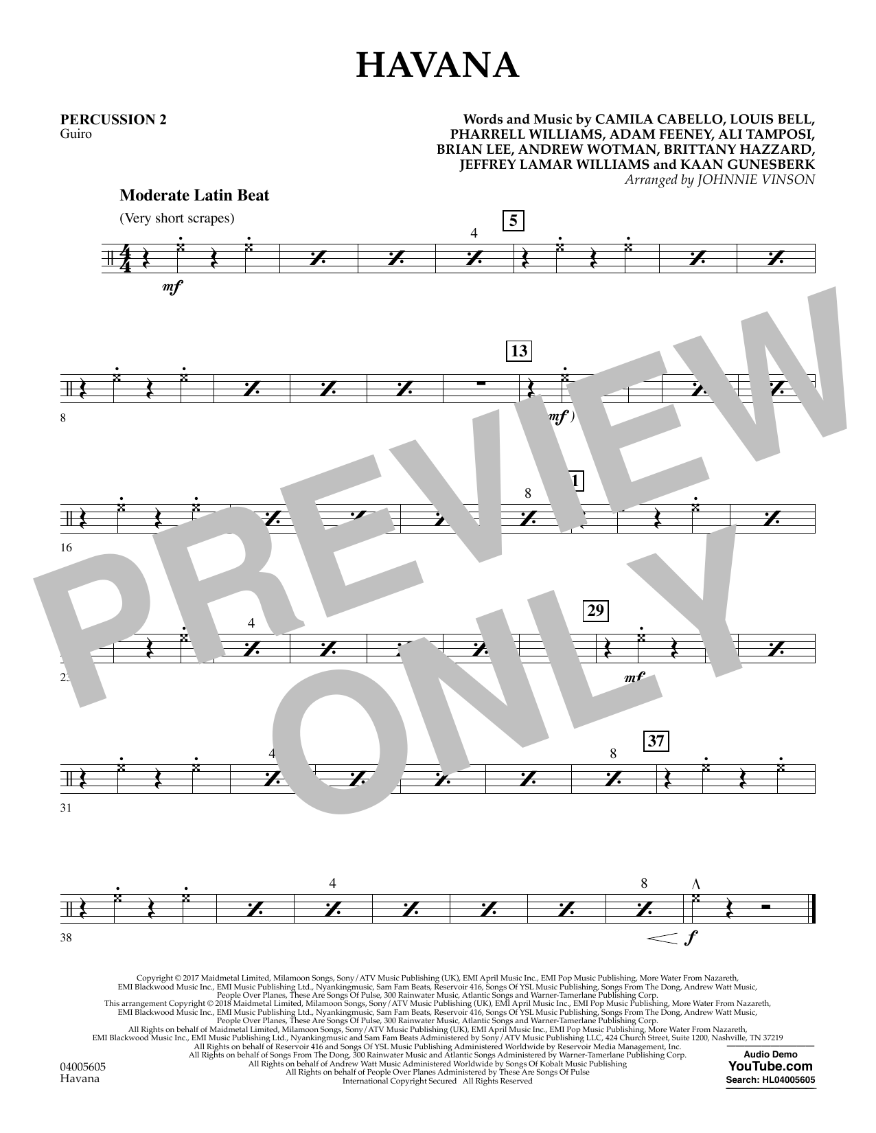 Havana - Percussion 2 atStanton's Sheet Music