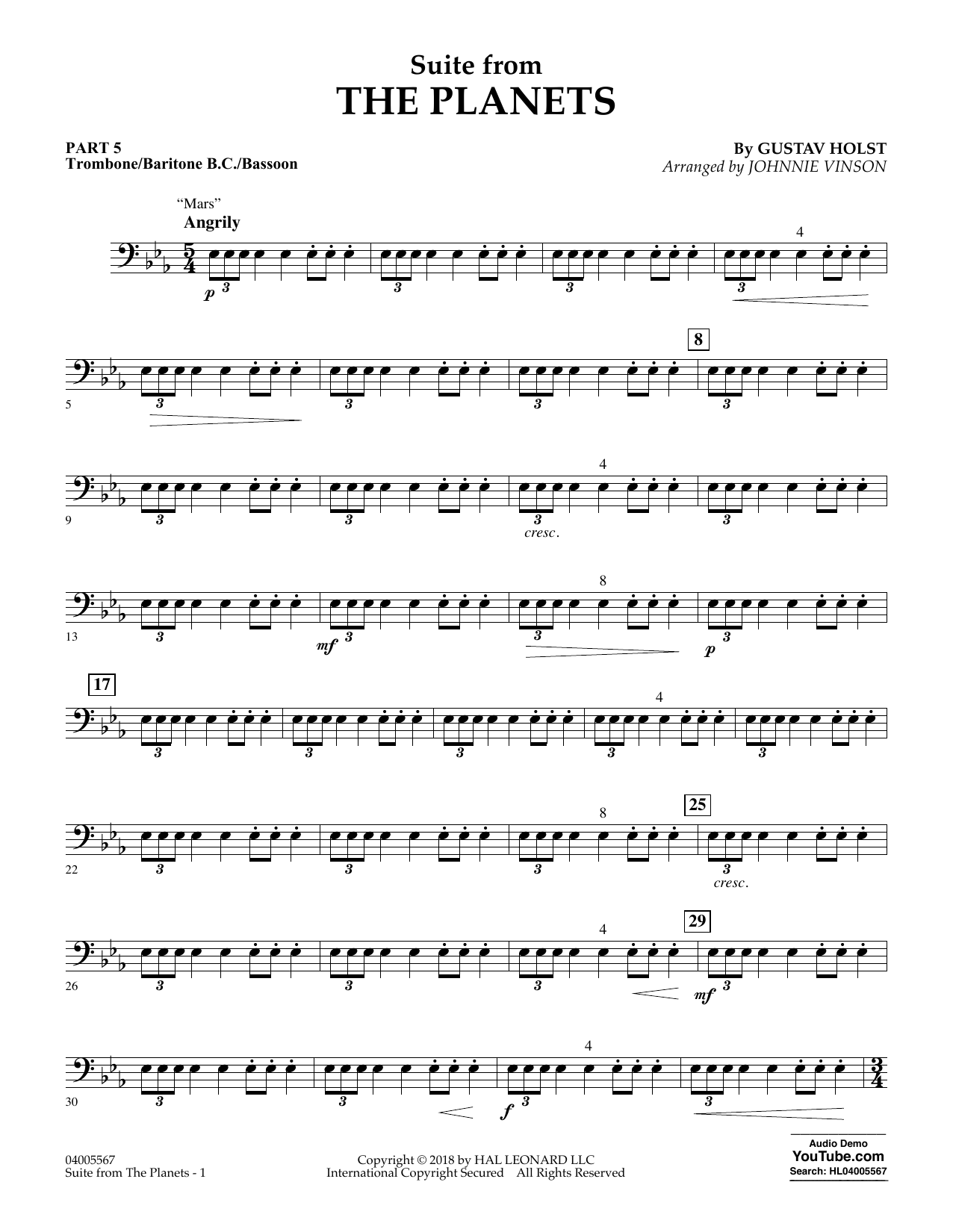 Suite from the Planets - Pt.5 - Trombone/Bar. B.C./Bsn. (Flex-Band)