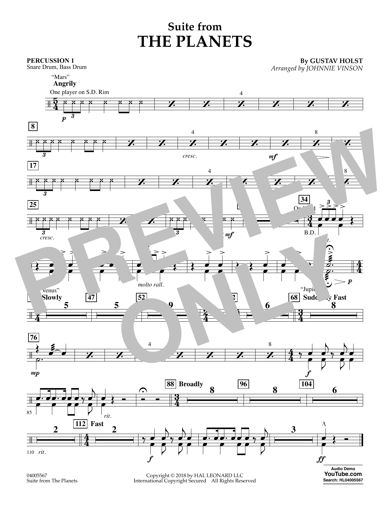 Suite from the Planets - Percussion 1 (Flex-Band)
