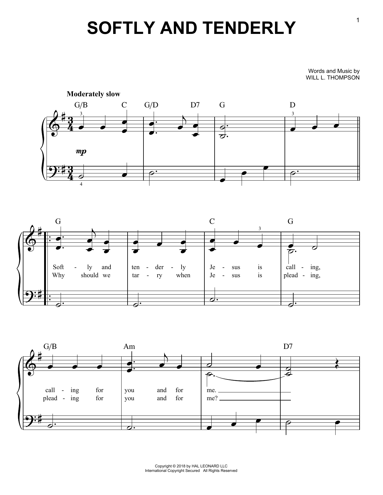 Softly And Tenderly (Easy Piano)