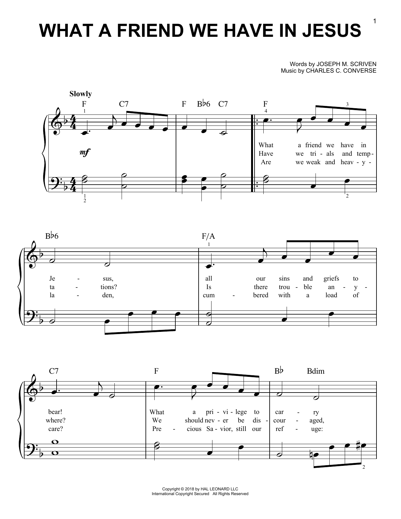 What A Friend We Have In Jesus (Easy Piano)