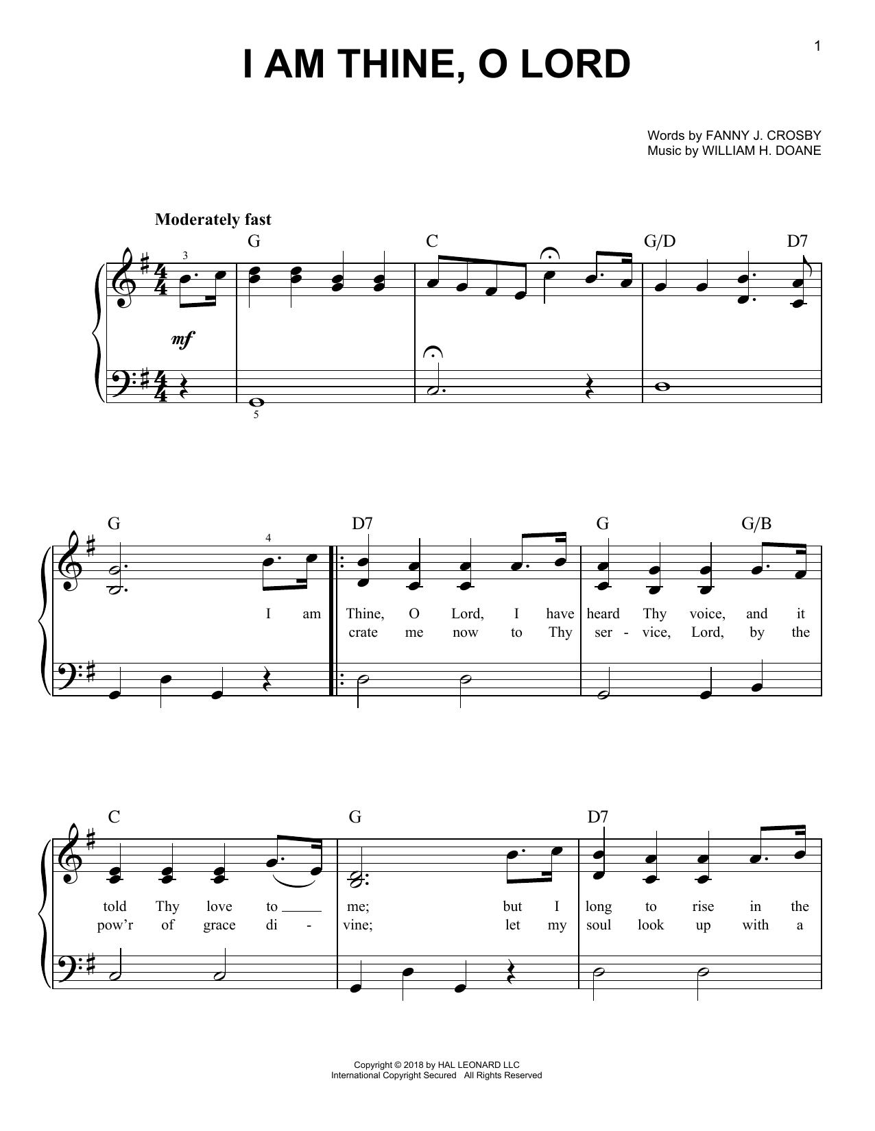 I Am Thine, O Lord (Easy Piano)
