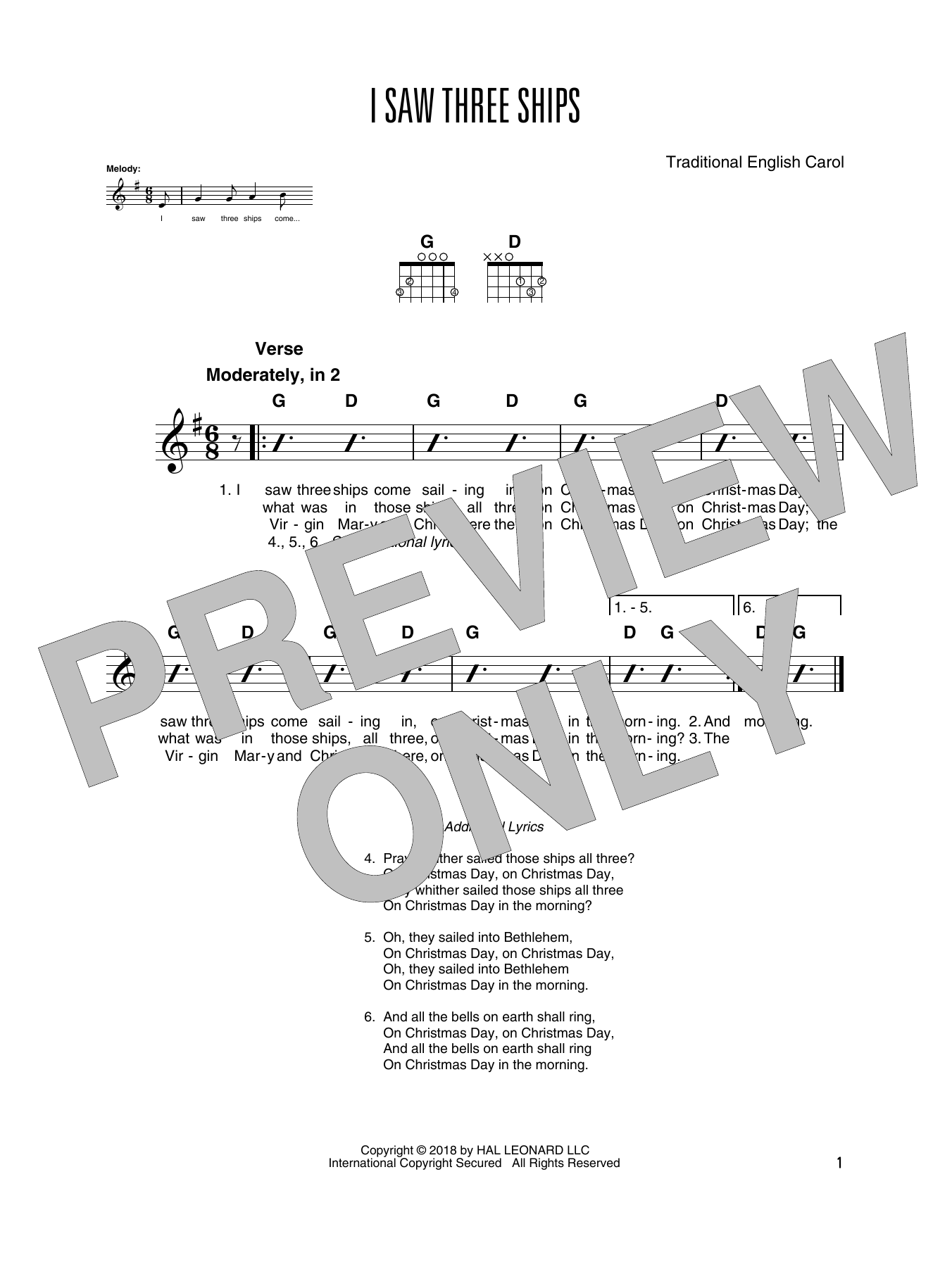 I Saw Three Ships (Guitar Tab)
