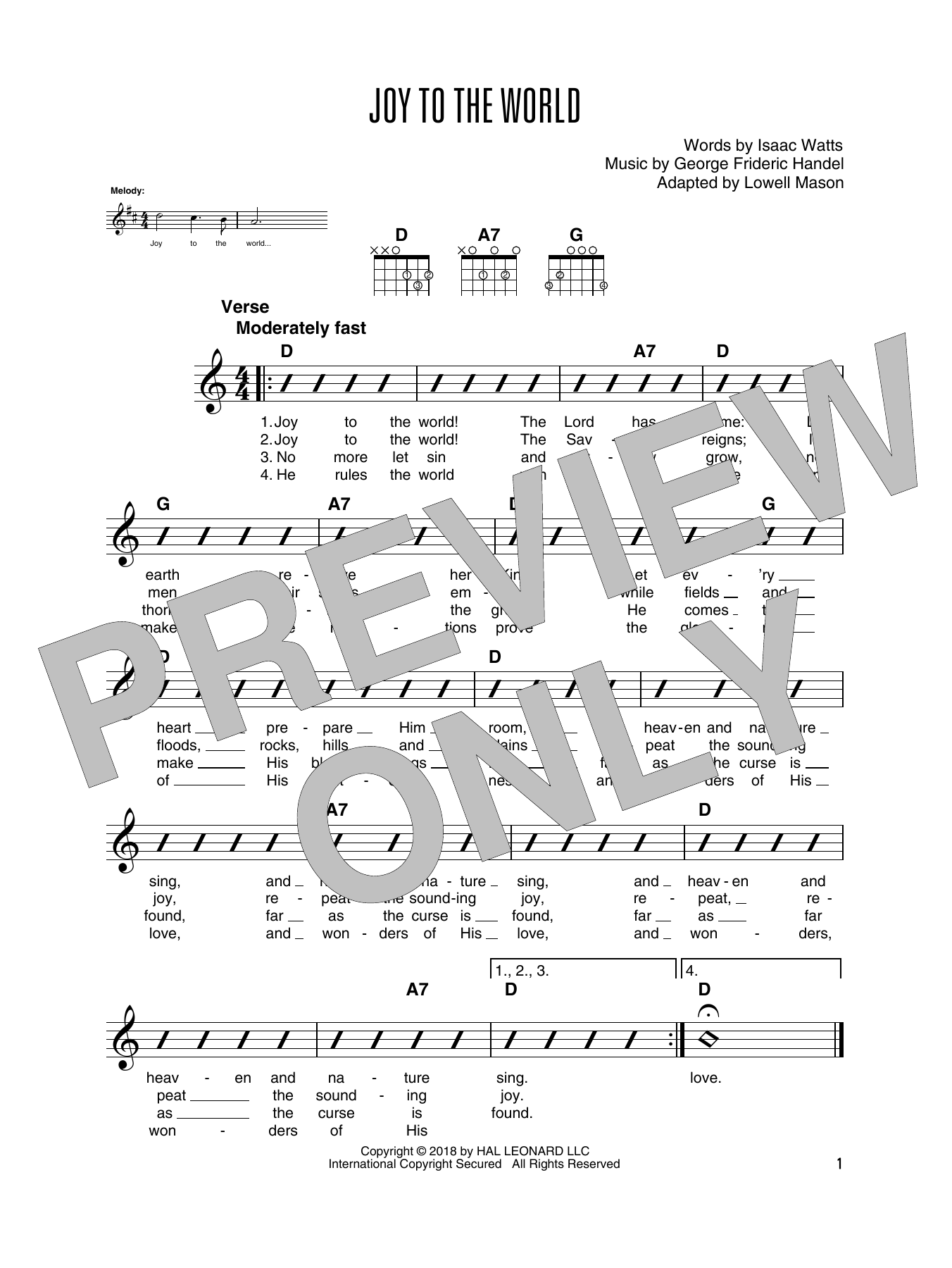 Joy To The World (Solo Guitar Tab)