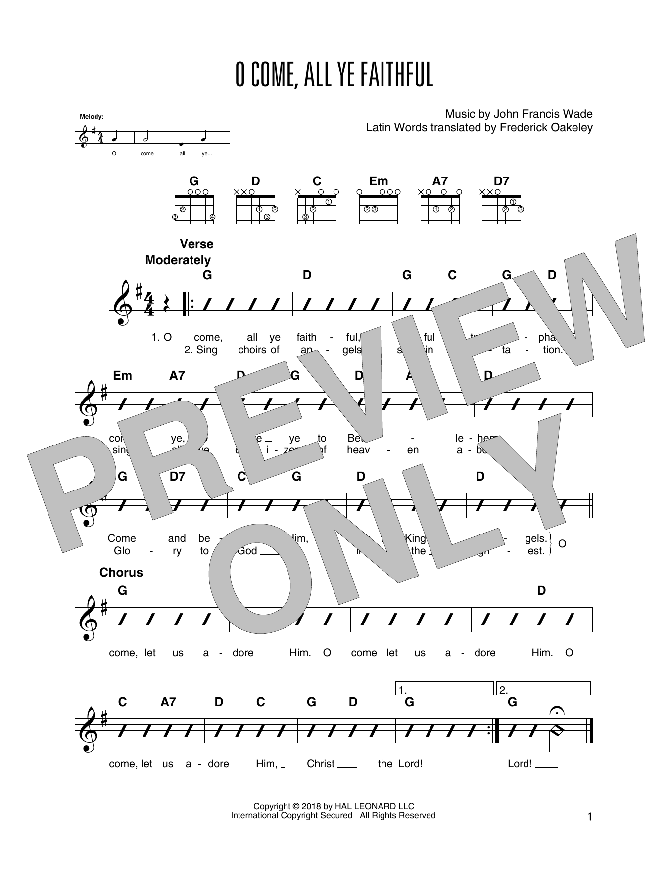 O Come All Ye Faithful Guitar Tab By John Francis Wade Guitar Tab