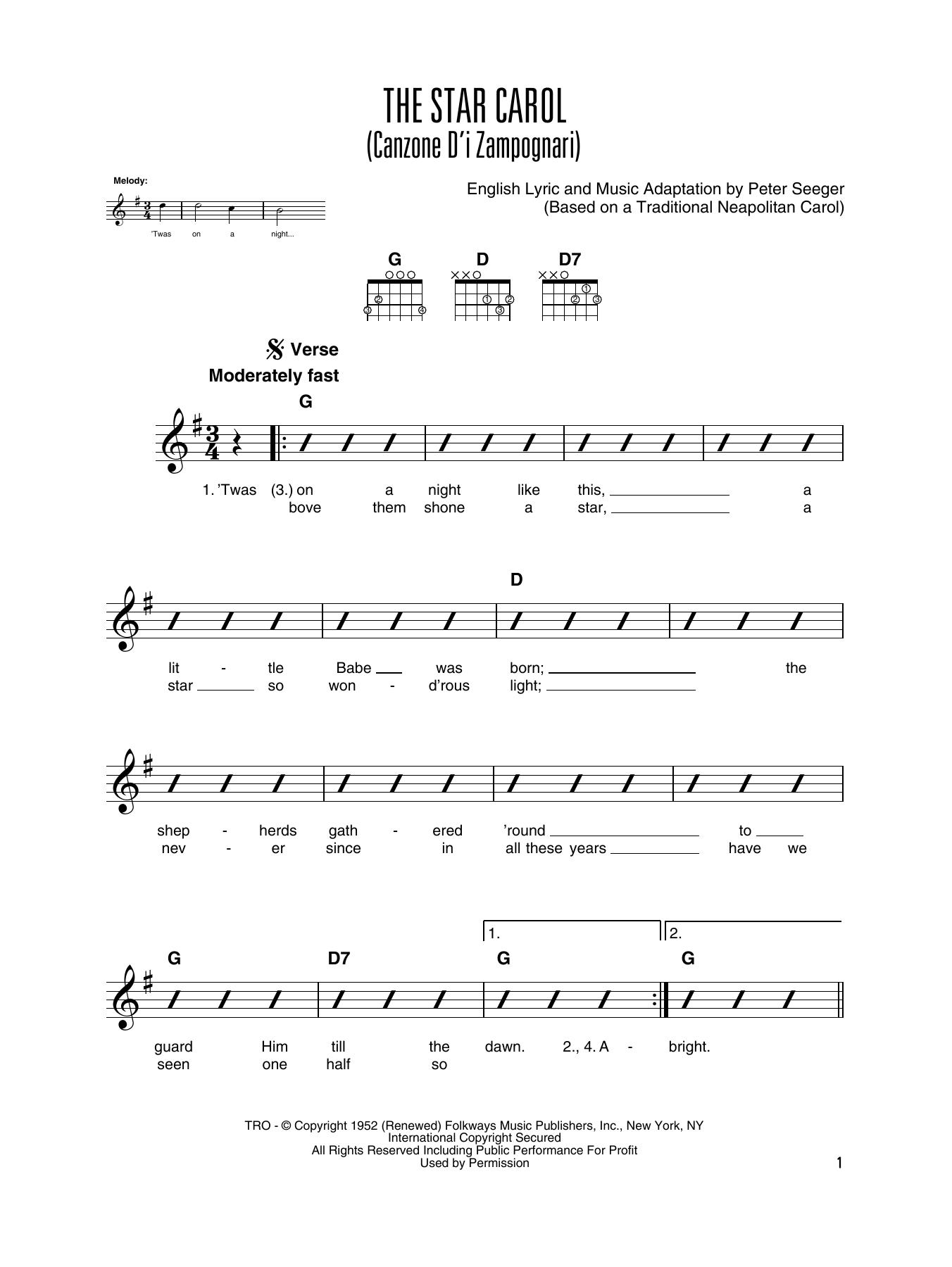 The Star Carol (Canzone D'i Zampognari) (Solo Guitar Tab)