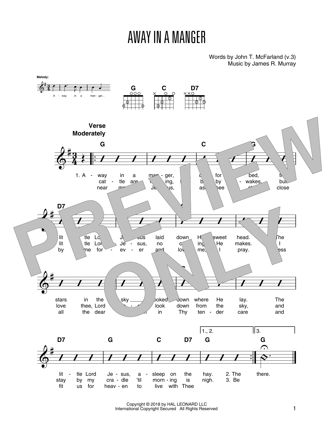 Away In A Manger (Solo Guitar Tab)