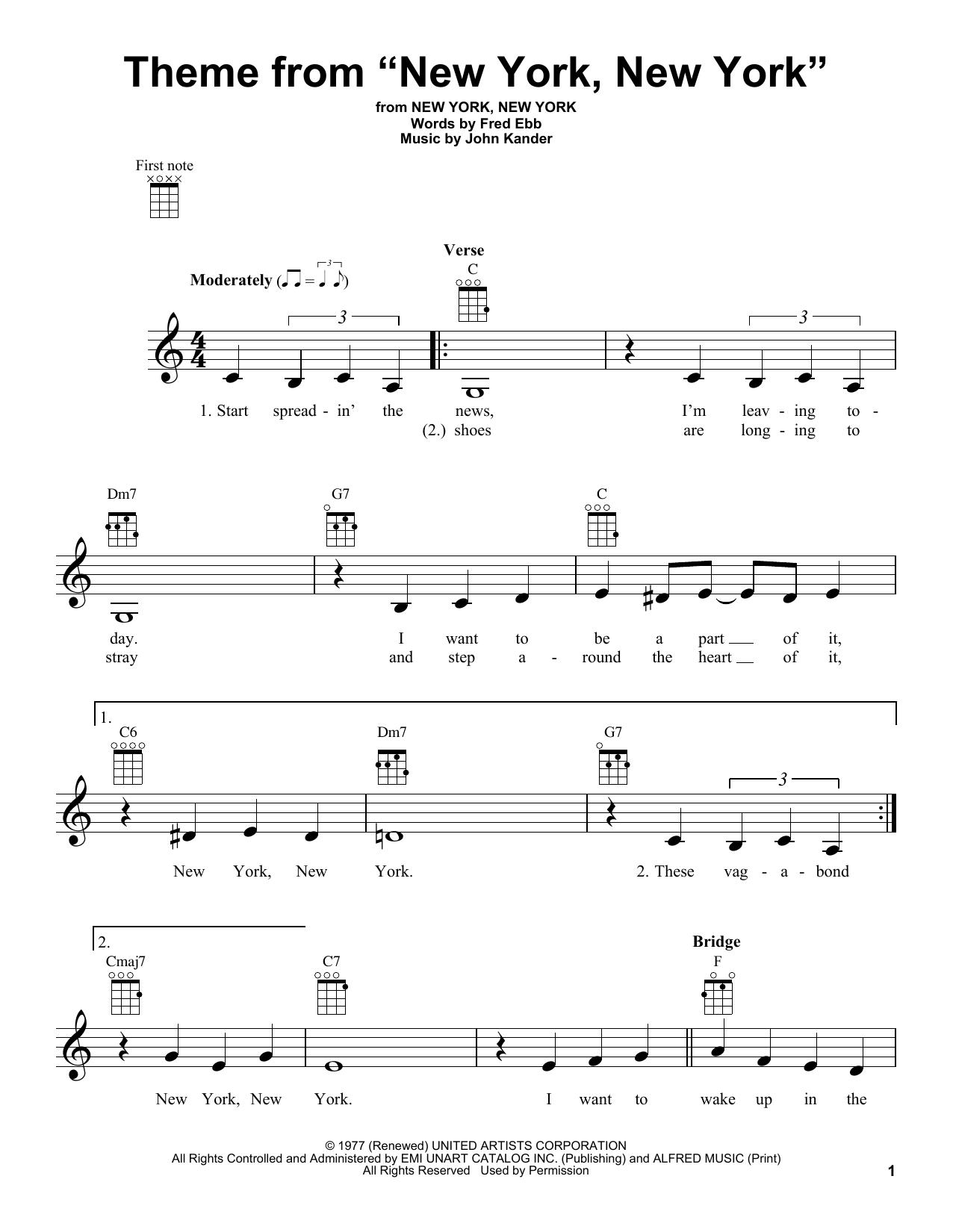 """Theme From """"New York, New York"""" (Ukulele)"""
