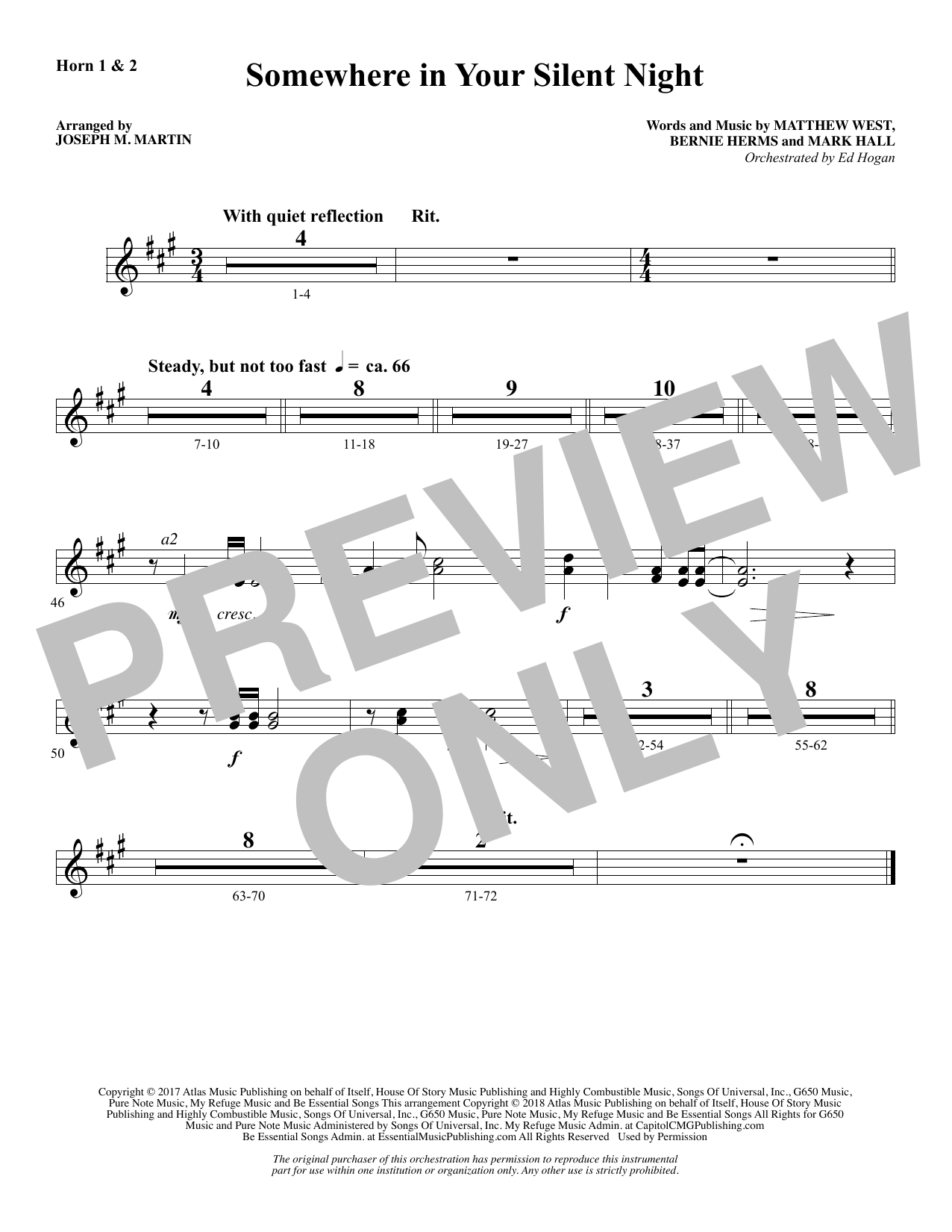 Somewhere in Your Silent Night - F Horn 1 & 2 (Choir Instrumental Pak)