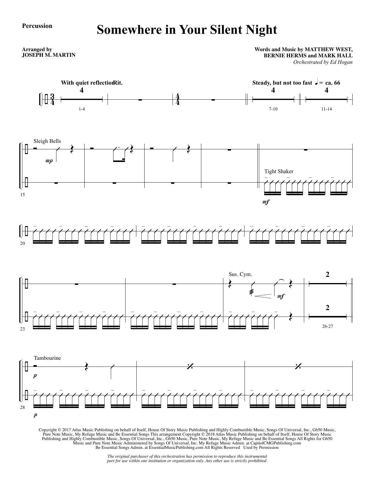 Somewhere in Your Silent Night - Percussion 1 & 2 (Choir Instrumental Pak)