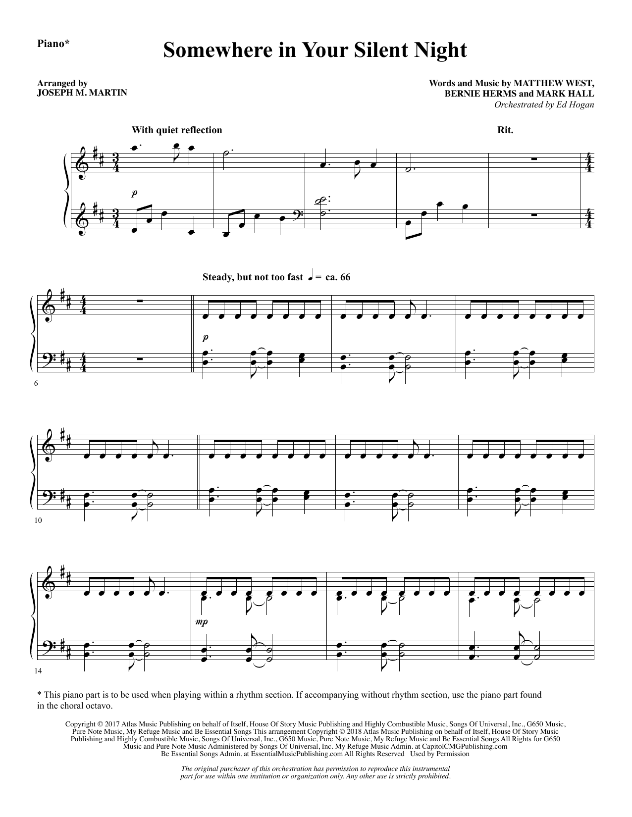Somewhere in Your Silent Night - Piano (Choir Instrumental Pak)