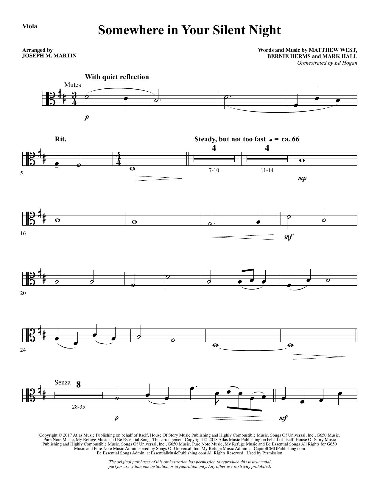 Somewhere in Your Silent Night - Viola (Choir Instrumental Pak)