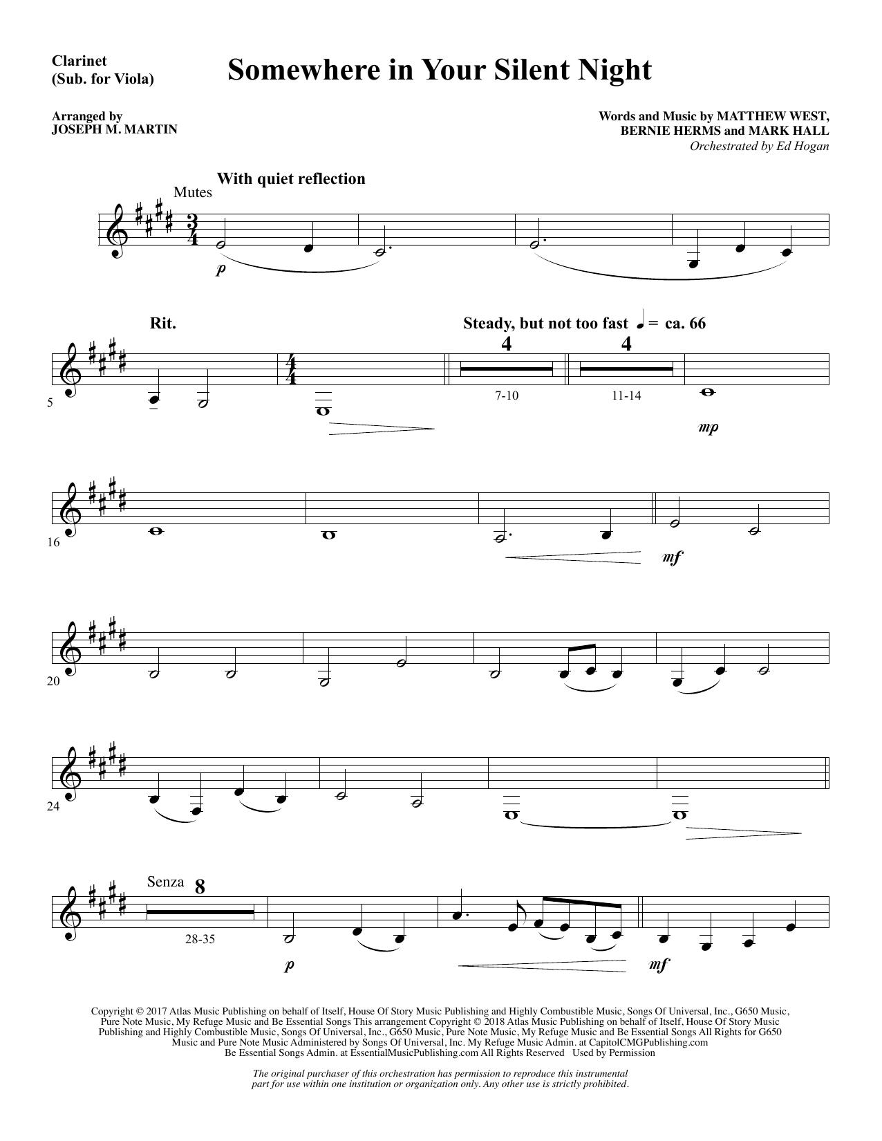 Somewhere in Your Silent Night - Clarinet (sub Viola) (Choir Instrumental Pak)