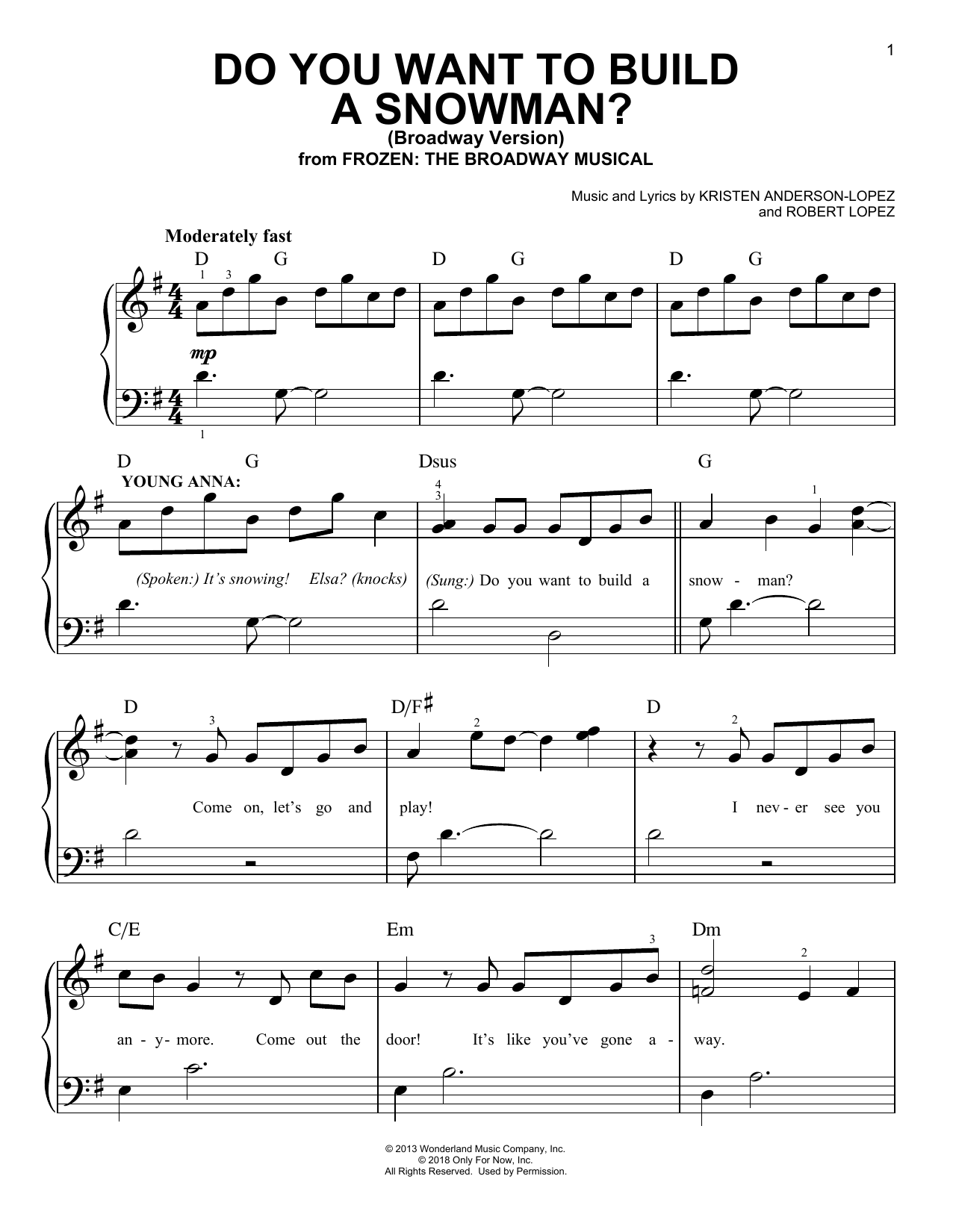 Do You Want To Build A Snowman? (from Frozen: The Broadway Musical) (Easy Piano)