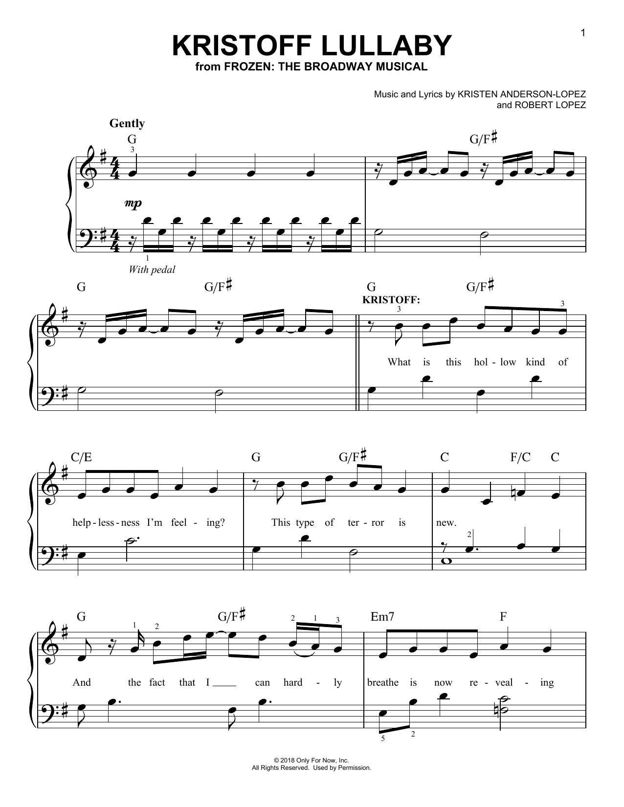 Kristoff Lullaby (from Frozen: The Broadway Musical) (Easy Piano)