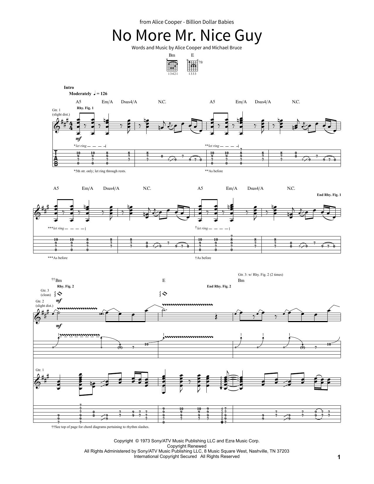 No More Mr. Nice Guy (School of Rock – Guitar Tab)