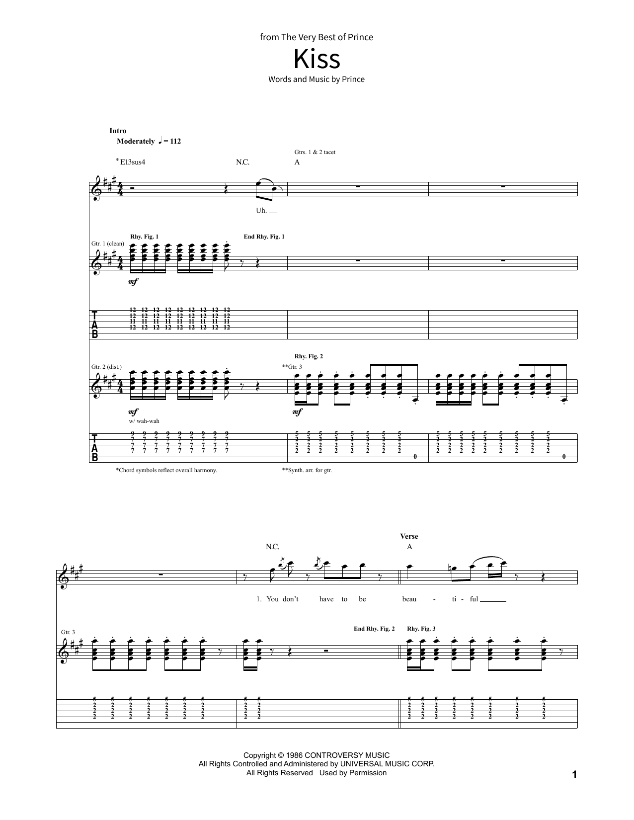 Kiss Sheet Music By Prince School Of Rock Guitar Tab 381512