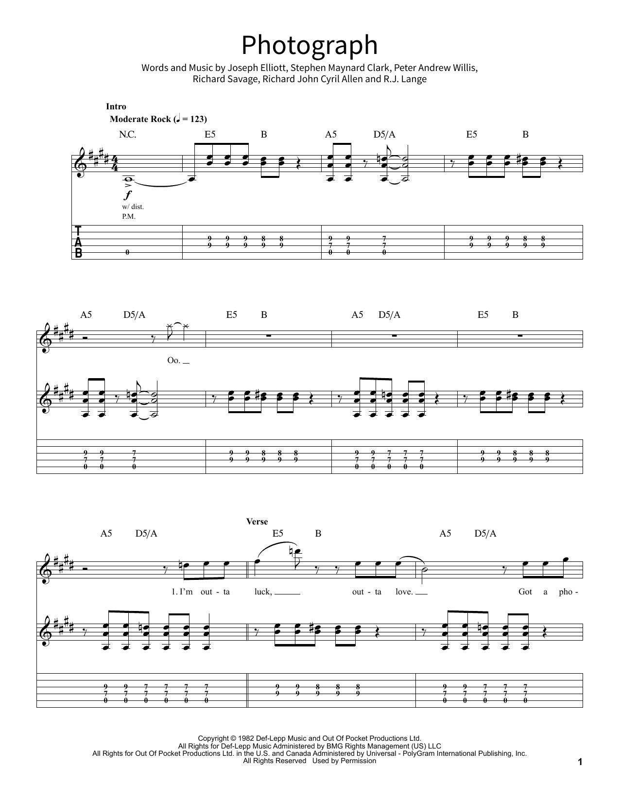 Photograph by Def Leppard Piano, Vocal & Guitar (Right-Hand Melody) Digital  Sheet Music