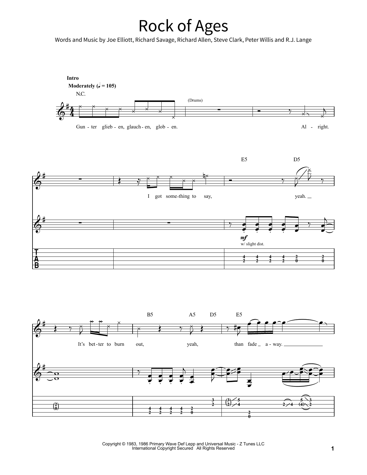 Rock Of Ages Sheet Music