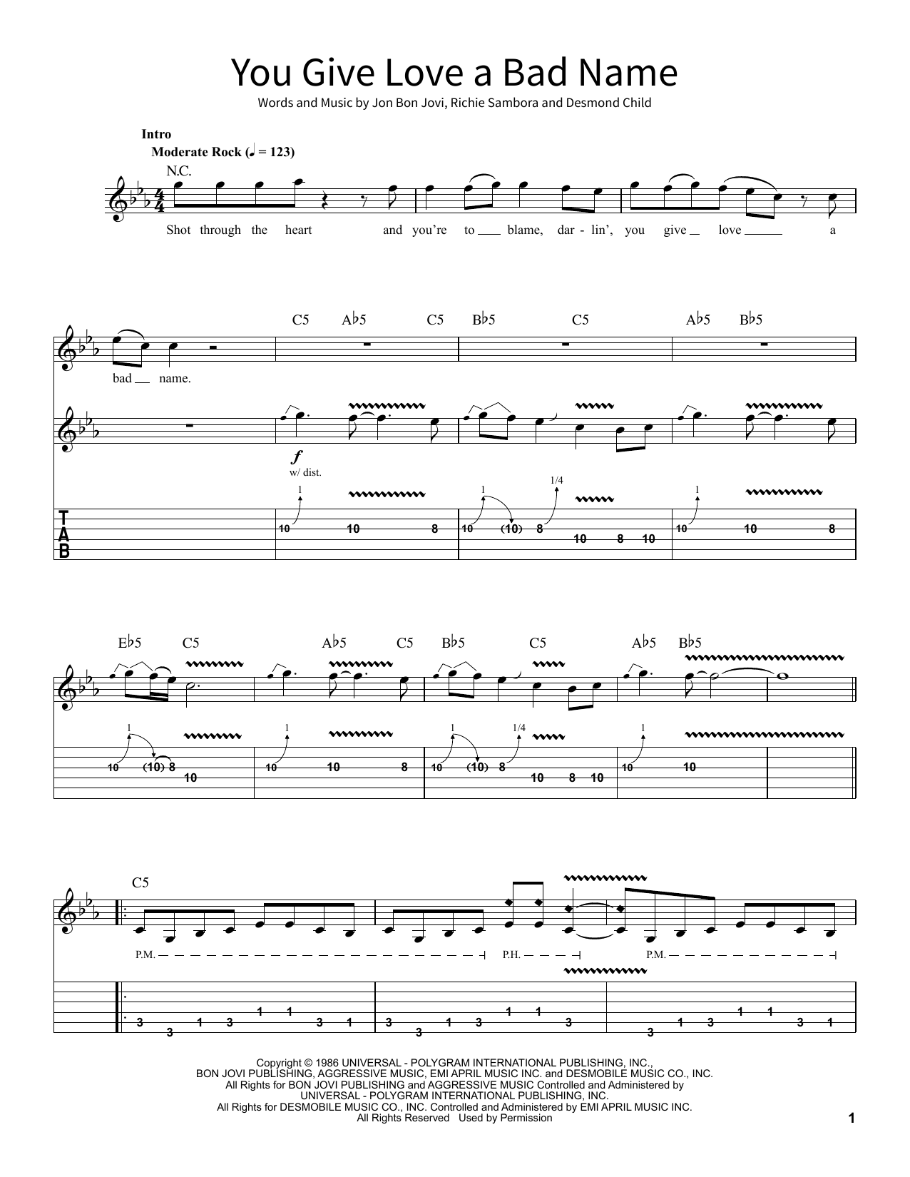 You Give Love A Bad Name (School of Rock – Guitar Tab)