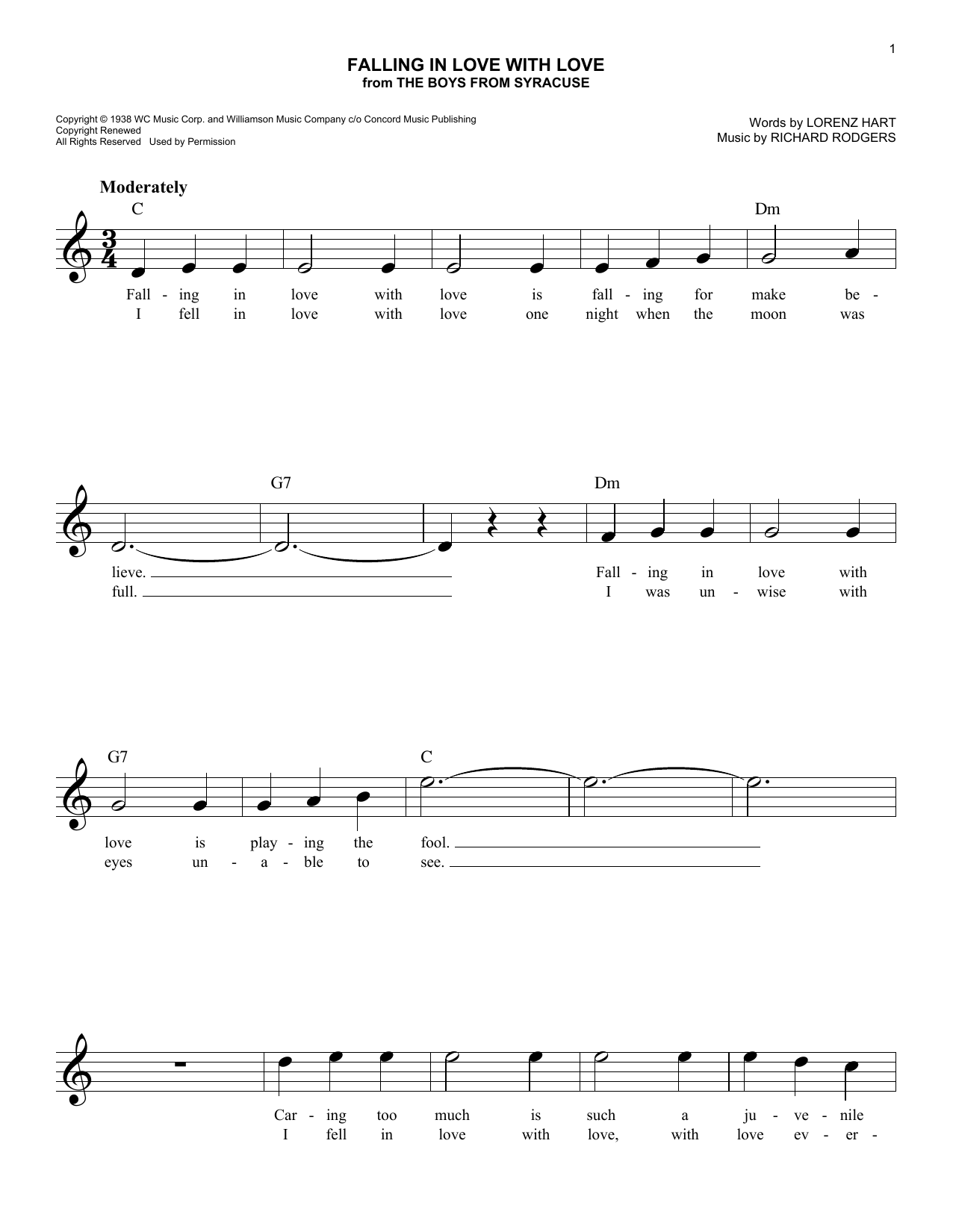 Falling In Love With Love (from The Boys From Syracuse) (Lead Sheet / Fake Book)