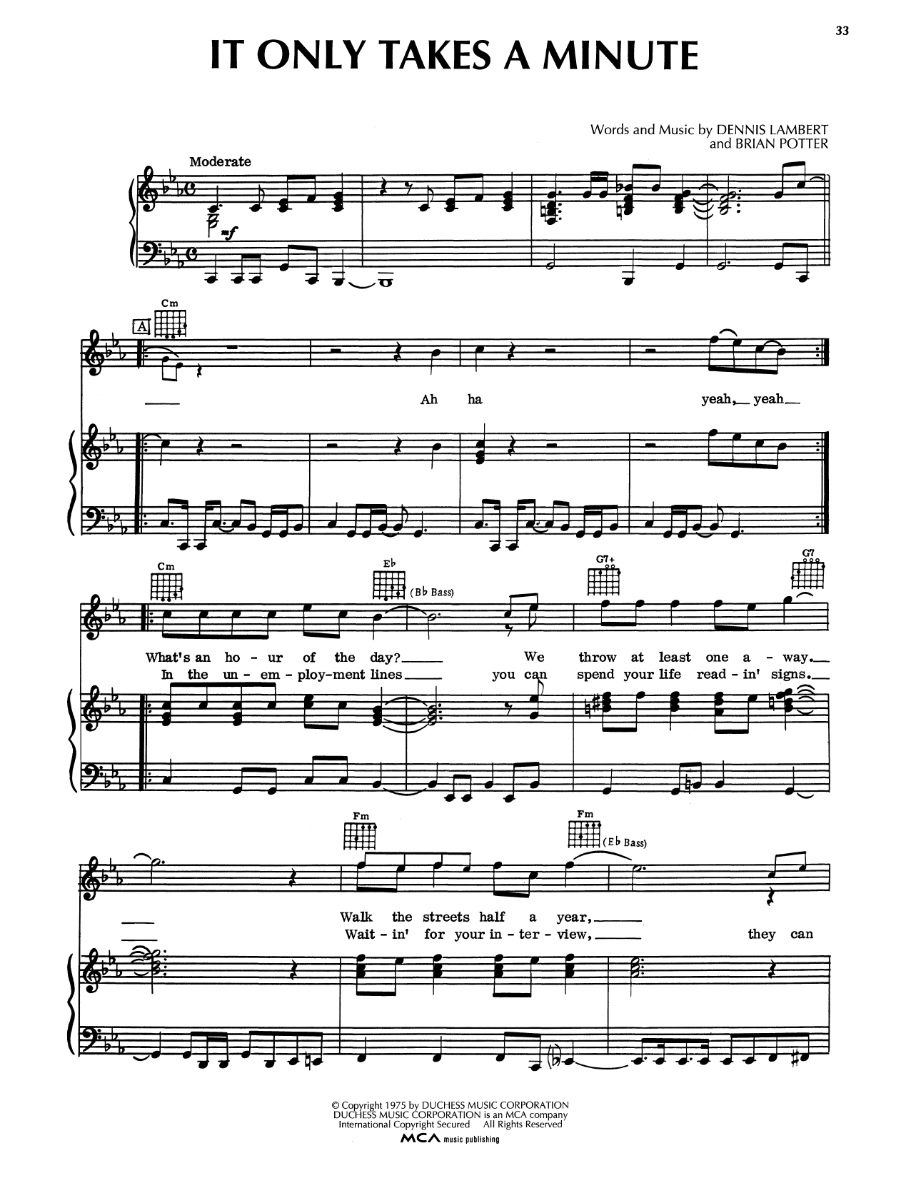 It Only Takes A Minute Sheet Music