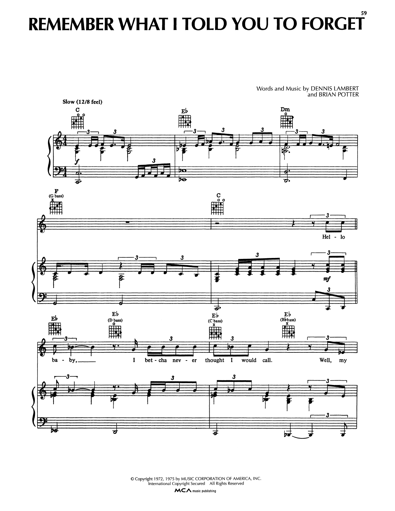 Remember What I Told You To Forget (Piano, Vocal & Guitar (Right-Hand Melody))