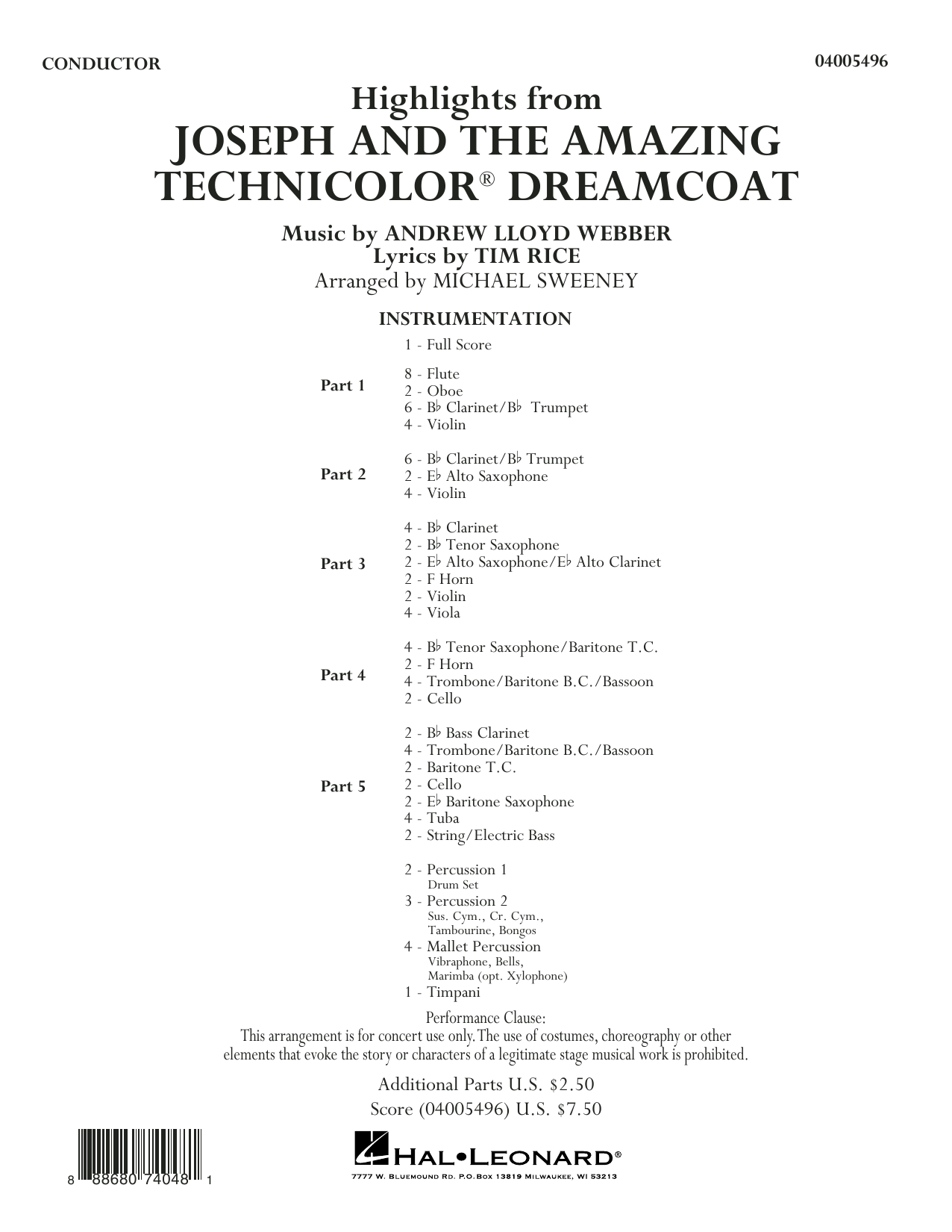 Highlights from Joseph and the Amazing Technicolor Dreamcoat - Conductor Score (Full Score) (Concert Band: Flex-Band)
