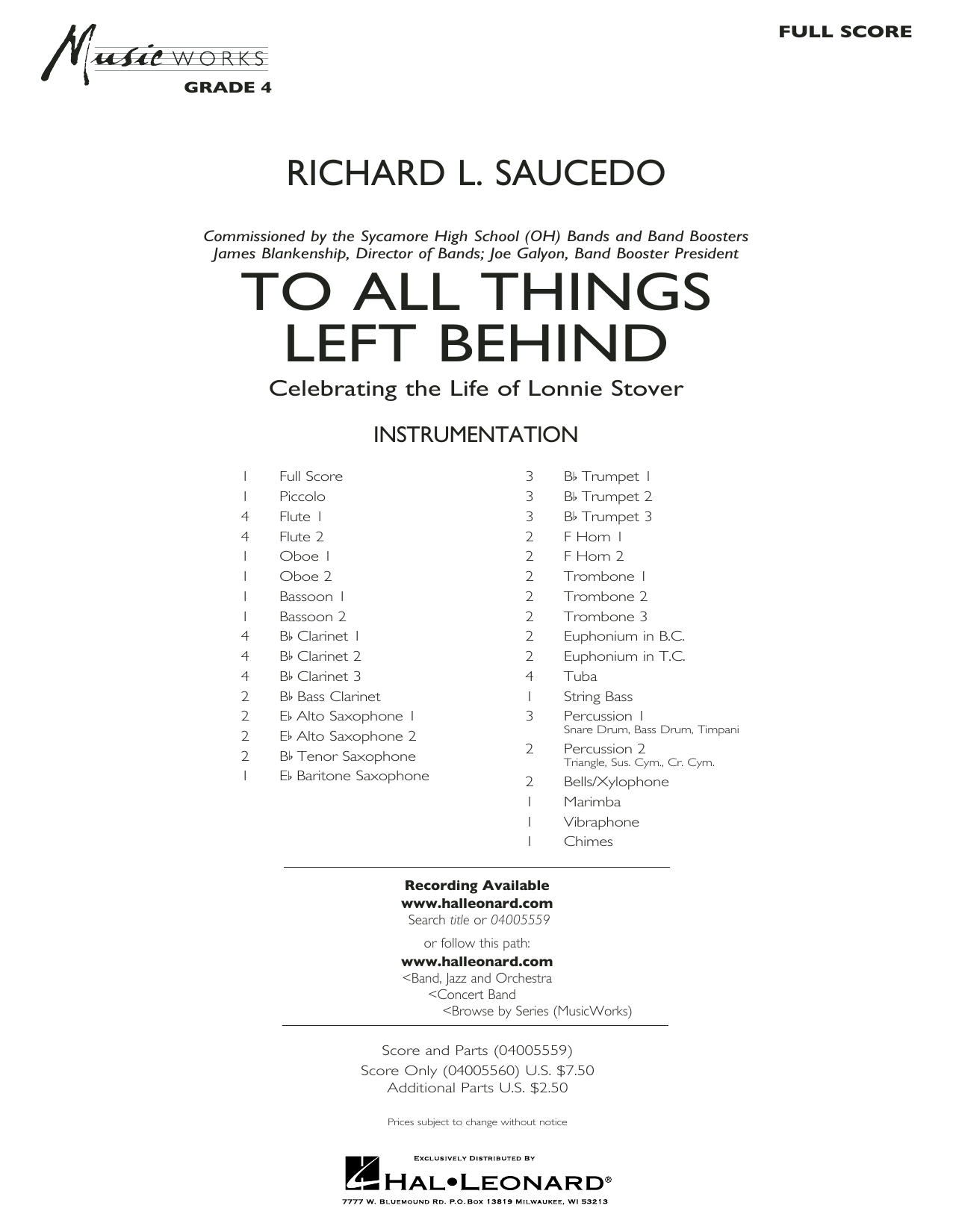 To All Things Left Behind - Conductor Score (Full Score) (Concert Band)