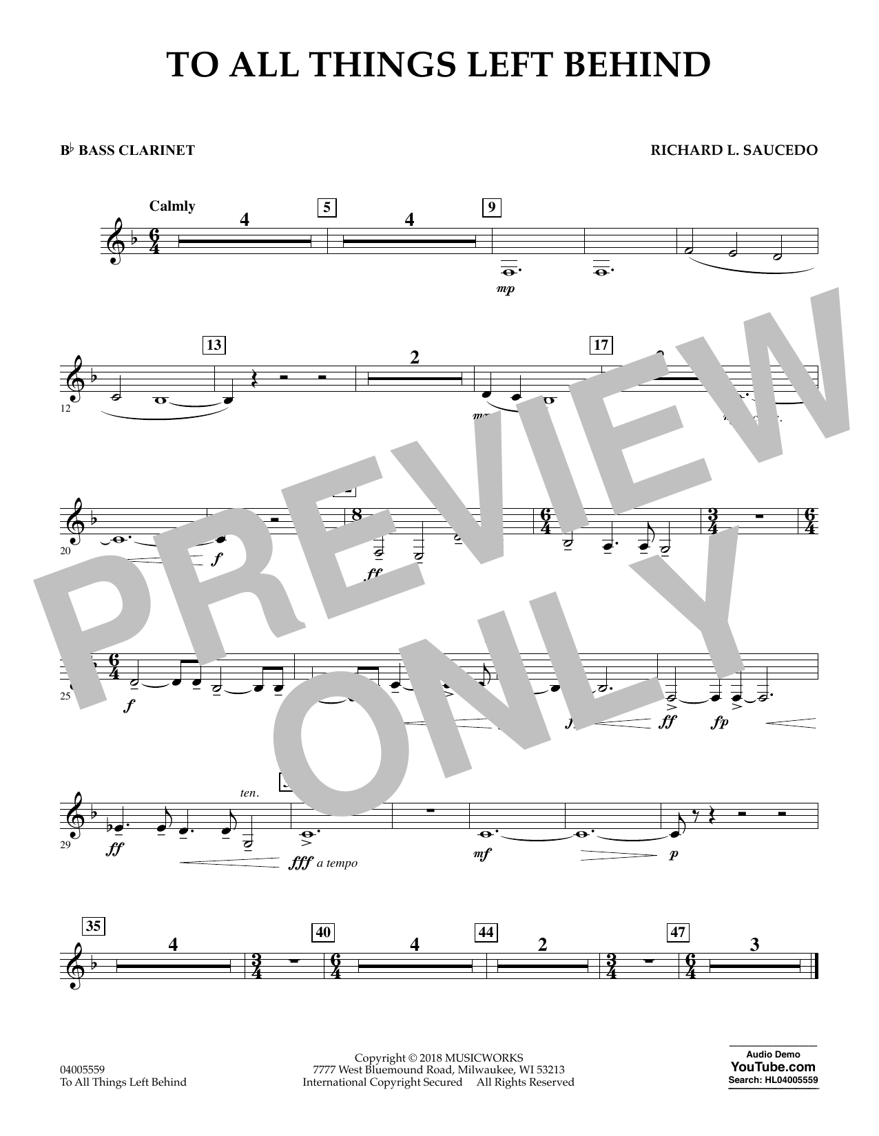 To All Things Left Behind - Bb Bass Clarinet (Concert Band)