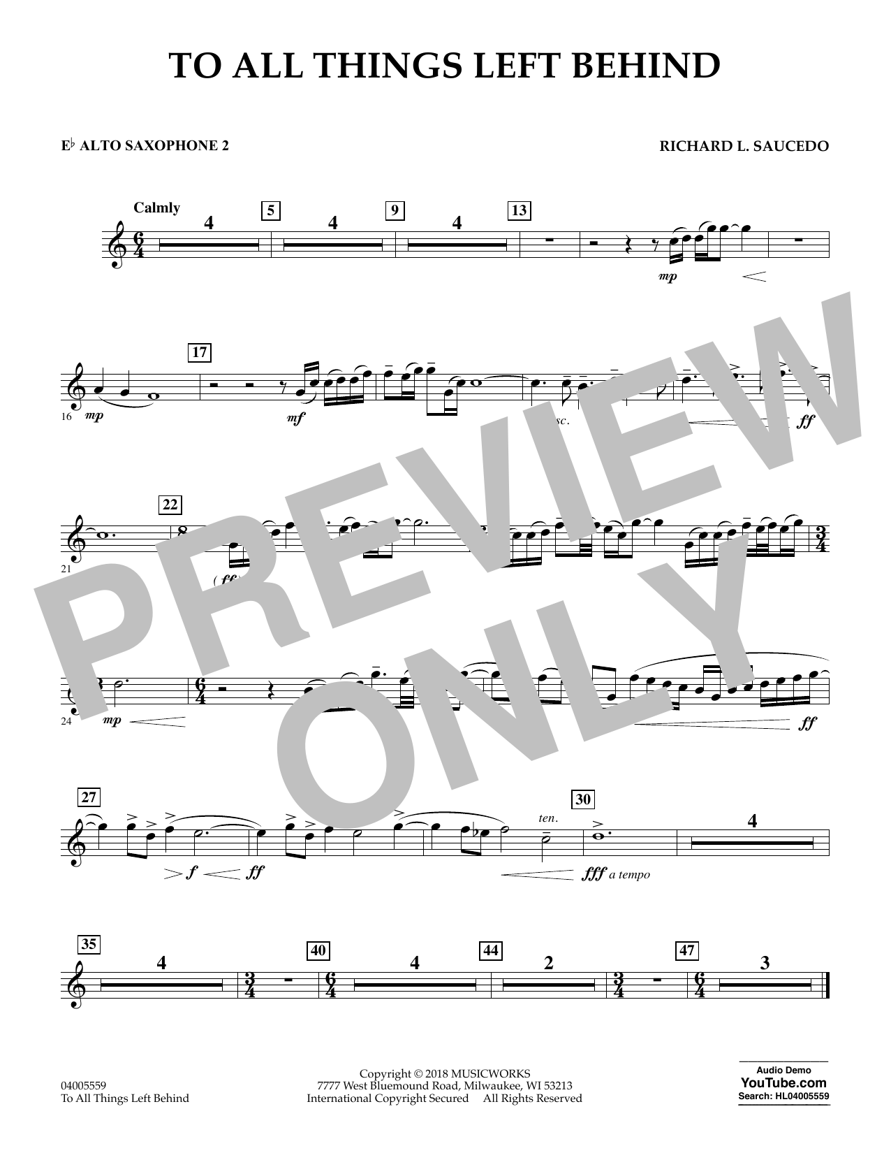 To All Things Left Behind - Eb Alto Saxophone 2 (Concert Band)