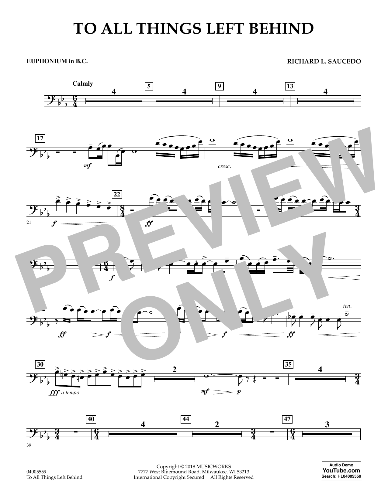 To All Things Left Behind - Euphonium in Bass Clef (Concert Band)