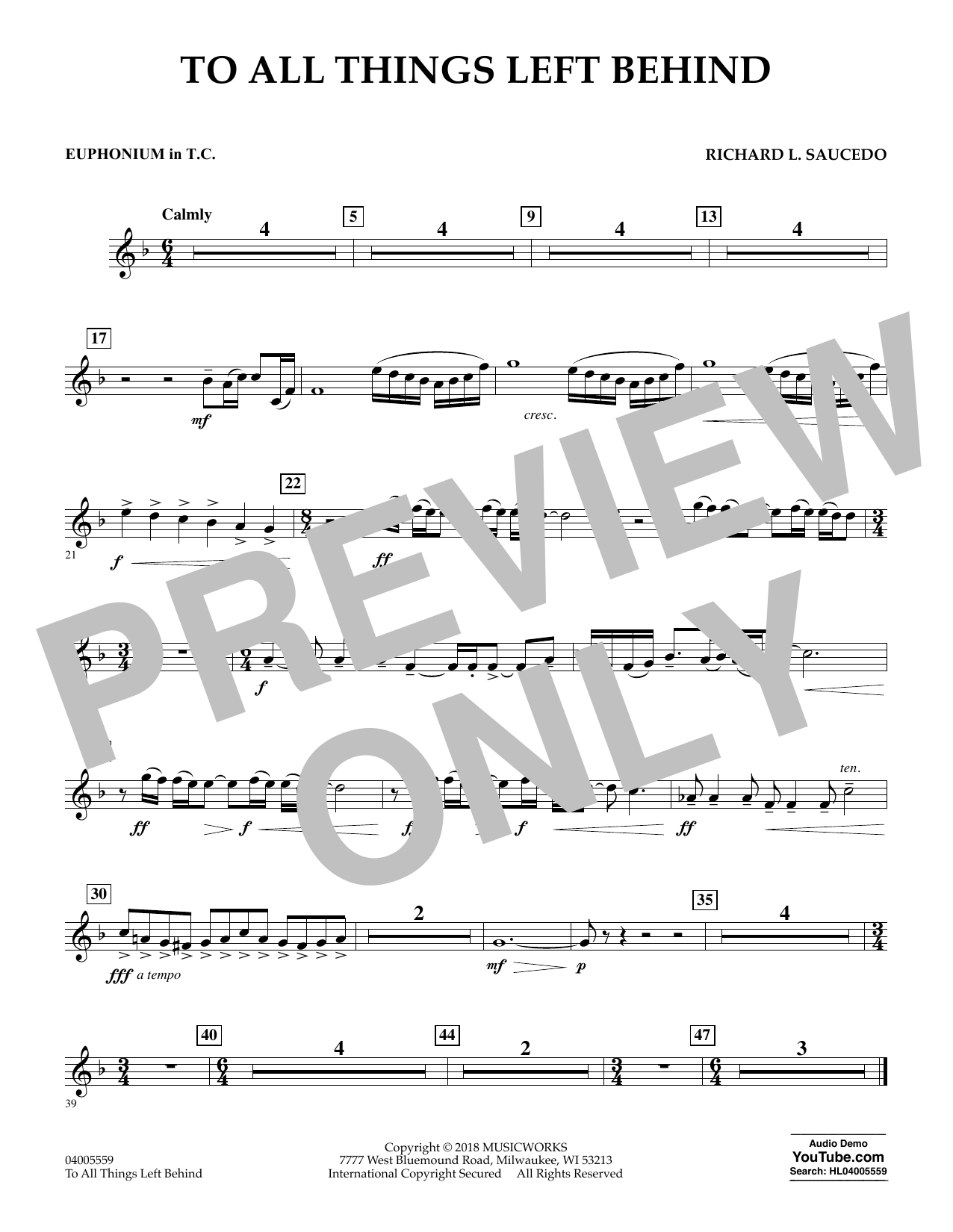 To All Things Left Behind - Euphonium in Treble Clef (Concert Band)